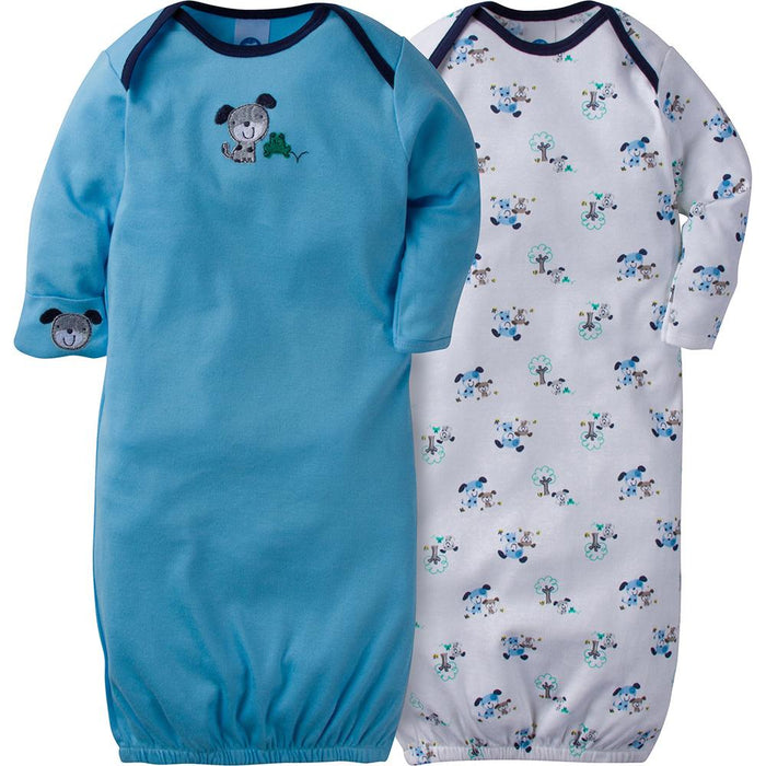 2-Pack Boys Puppy Dog Mitten Cuff Gowns – Gerber Childrenswear