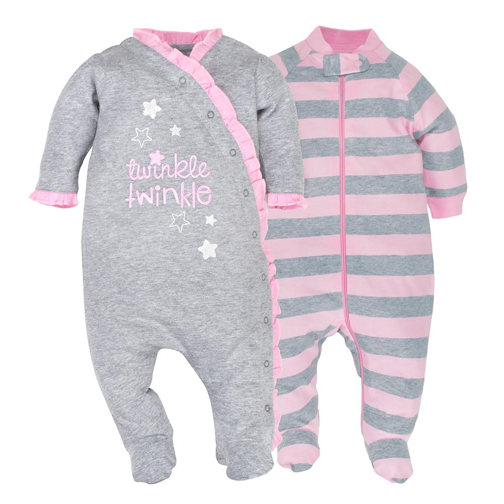 2-pack Organic Girls Pink & Grey Sleep N' Plays