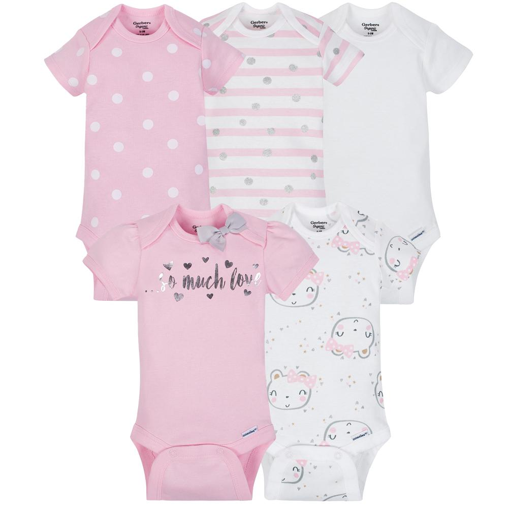 5-Pack Girls Organic Bear Onesies® Brand Short Sleeve Bodysuits