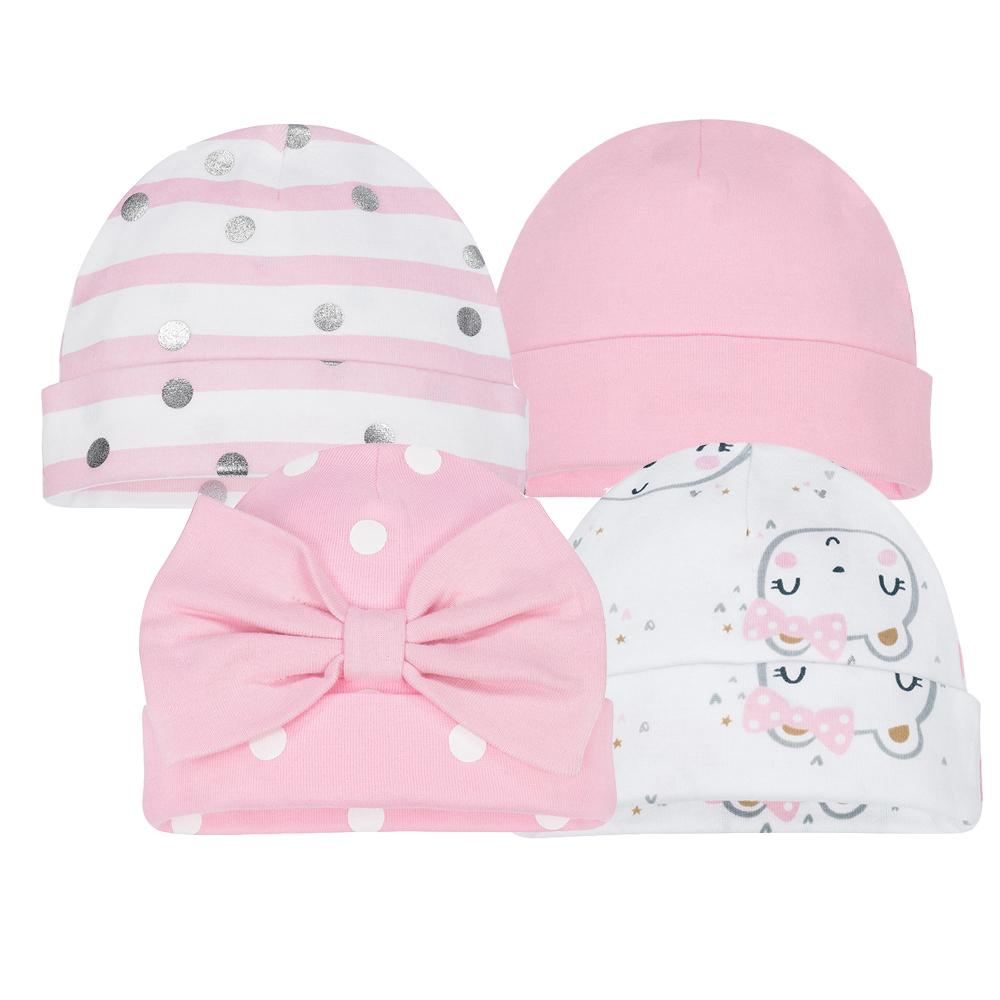 4-Pack Girls Organic Bear Cap