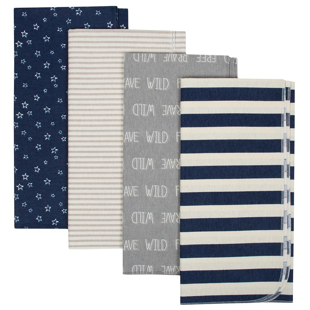 4-Pack Boys Organic Flannel Receiving Blanket