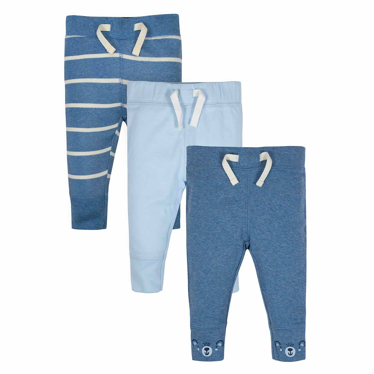 Baby Boys' 3-Pack Organic Teddy Active Pants-Gerber Childrenswear