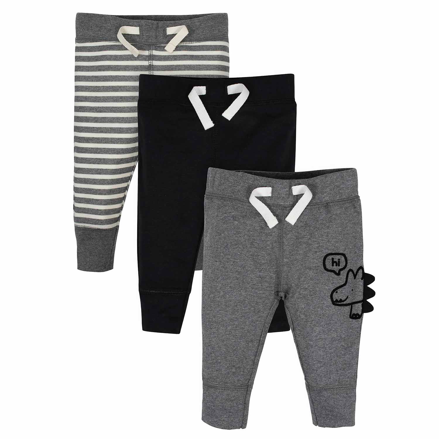 Baby Boys' 3-Pack Organic Dinosaur Active Pants