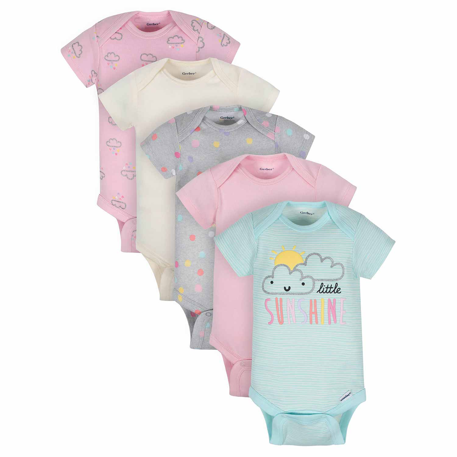 Baby Girls' 5-Pack Organic Clouds Short Sleeve Onesies® Bodysuits