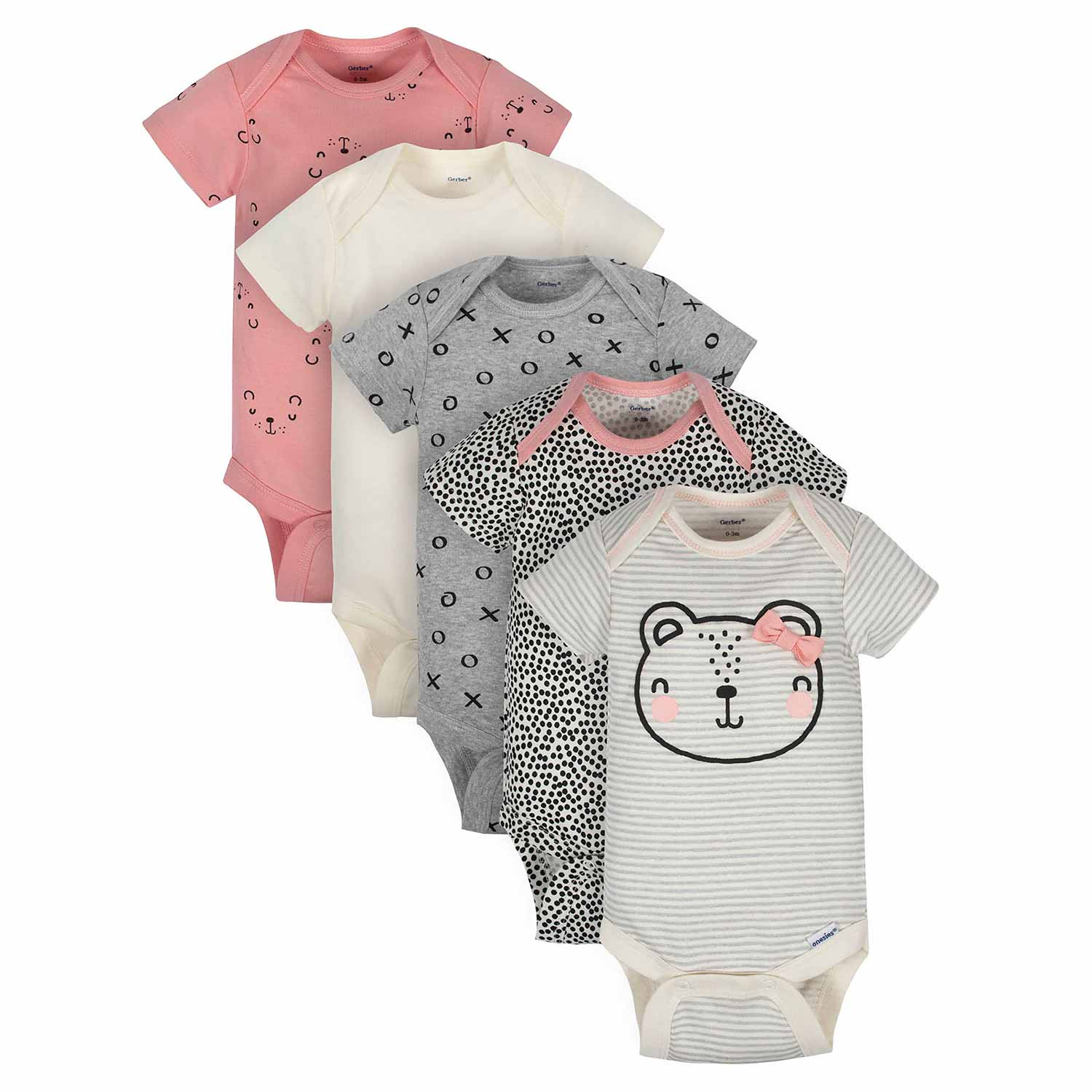 Baby Girls' 5-Pack Organic Bear Short Sleeve Onesies® Bodysuits