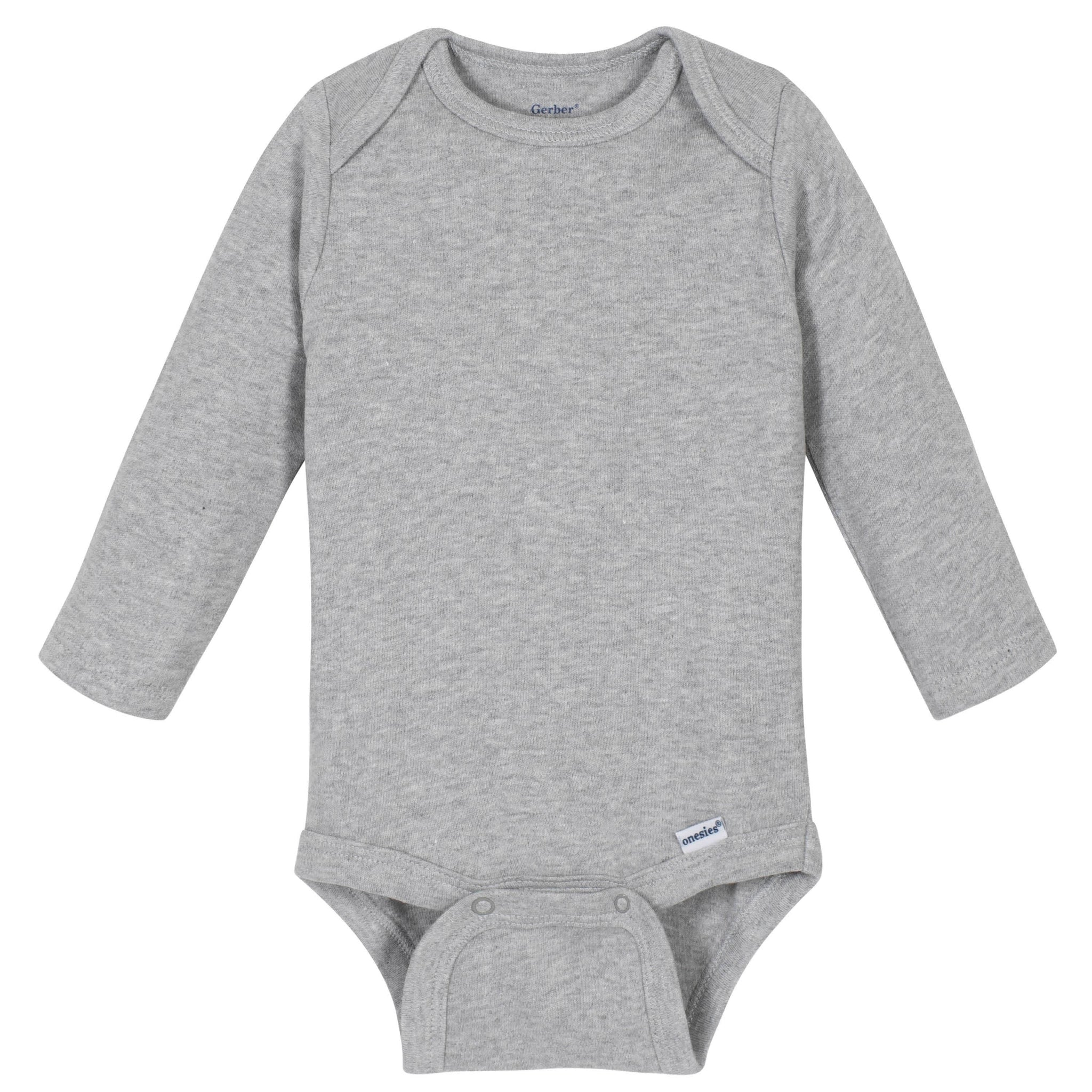 Gerber® Premium Light Gray Long Sleeve Onesies® Brand Bodysuit - 10 Colors Available