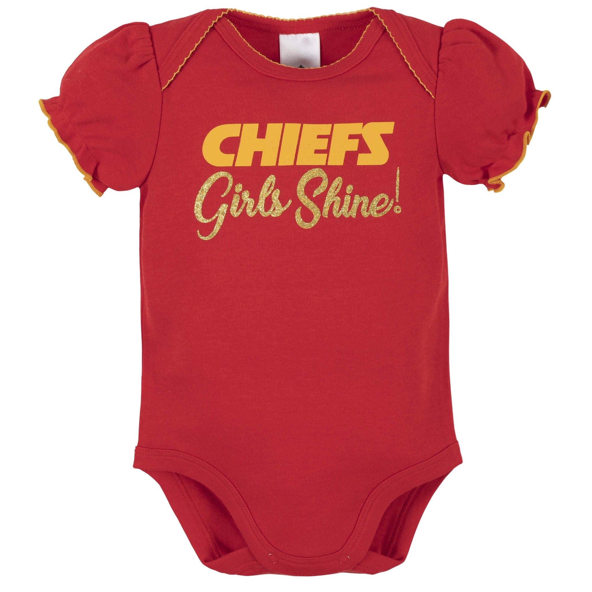Kansas City Chiefs Baby Girls Short Sleeve Bodysuits-Gerber Childrenswear