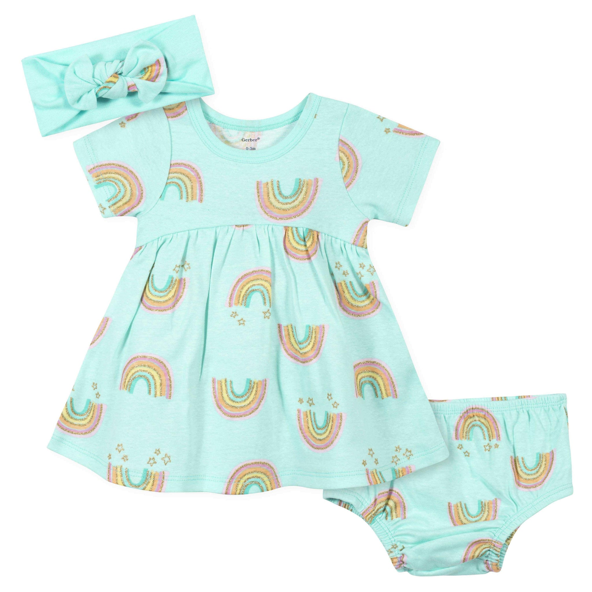 3-Piece Baby Girls Gold Rainbow Dress, Diaper Cover, and Headband Set