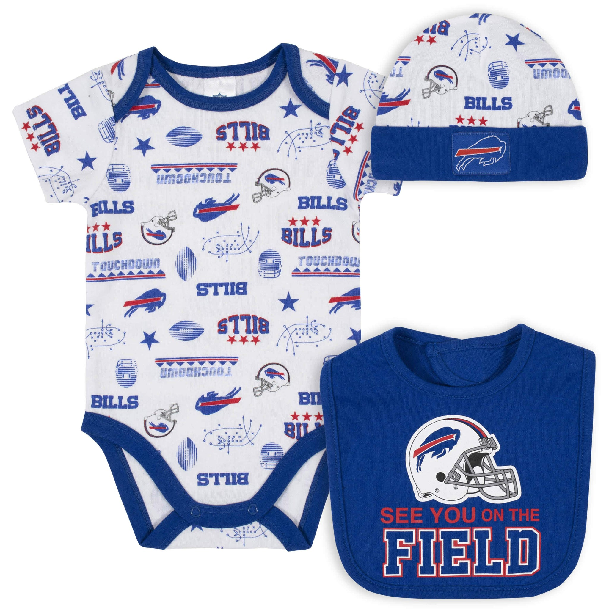 Buffalo Bills 3-Piece Baby Boys Bodysuit, Bib, and Cap Set