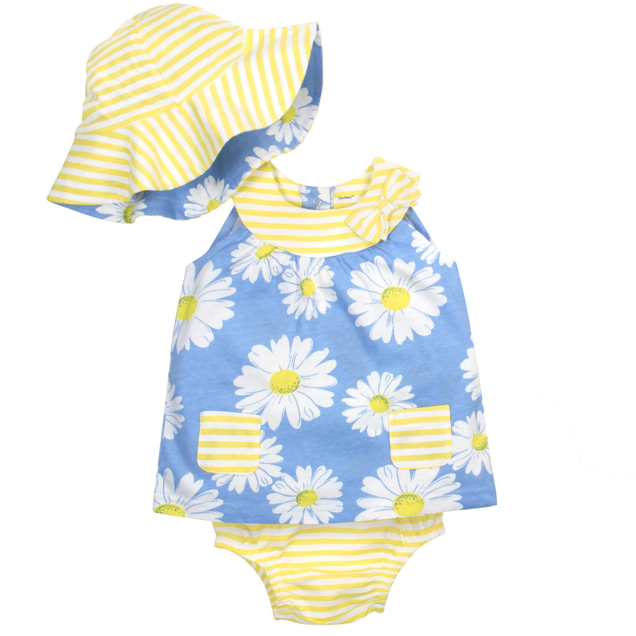 Gerber Girls' 3-Piece Dress, Bloomer and Hat Set, daisies
