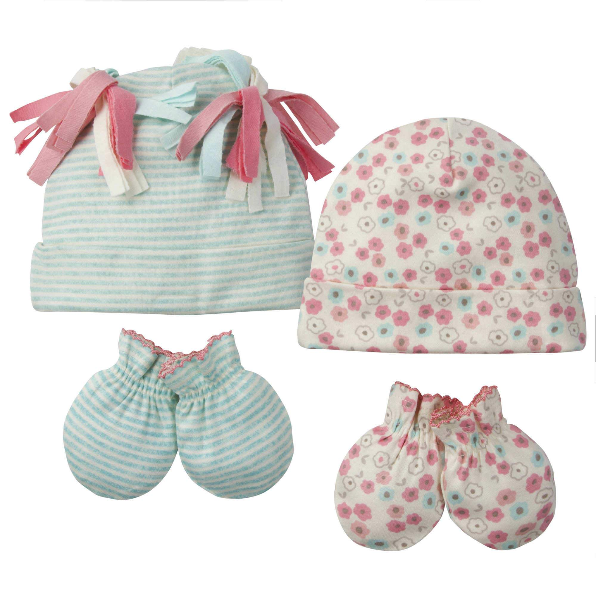 Gerber® 4-Piece Baby Girls Floral Organic Caps and Mittens Set