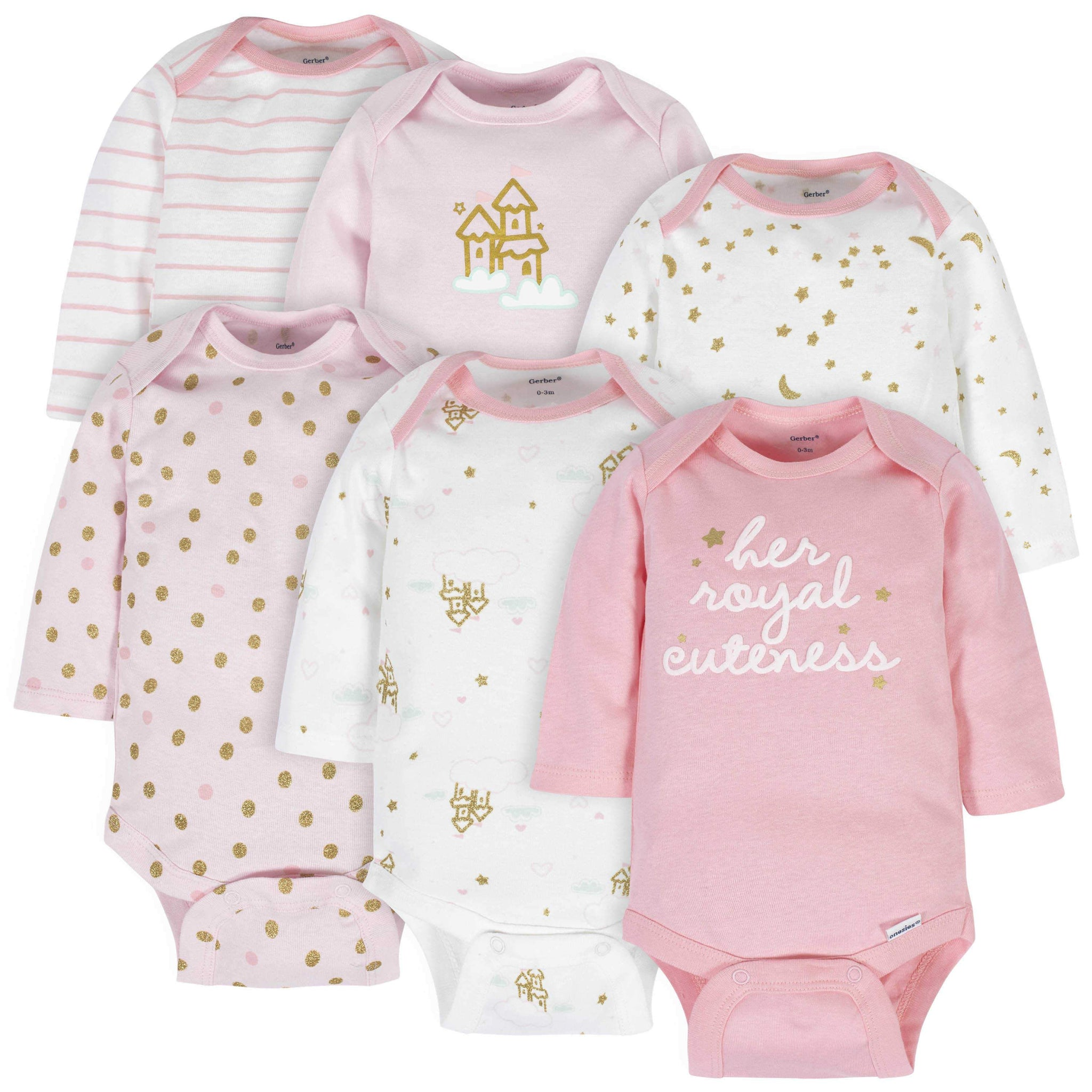 6-Pack Baby Girls Castle Long Sleeve Onesies