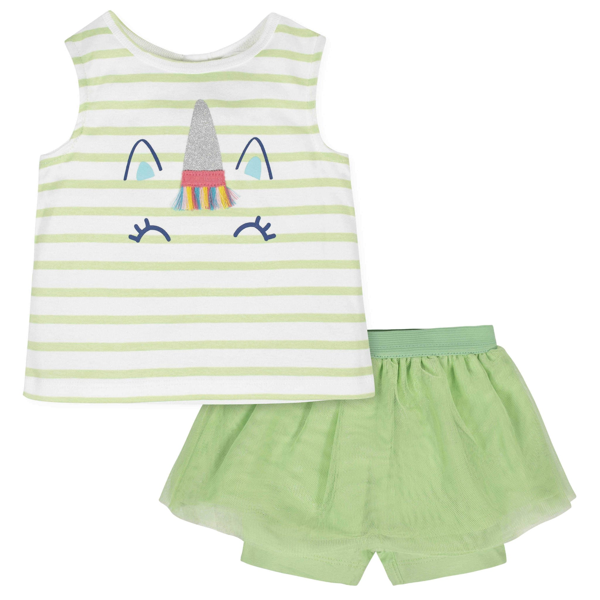 2-Piece Baby Girls Unicorn Tank and Tutu Short Set