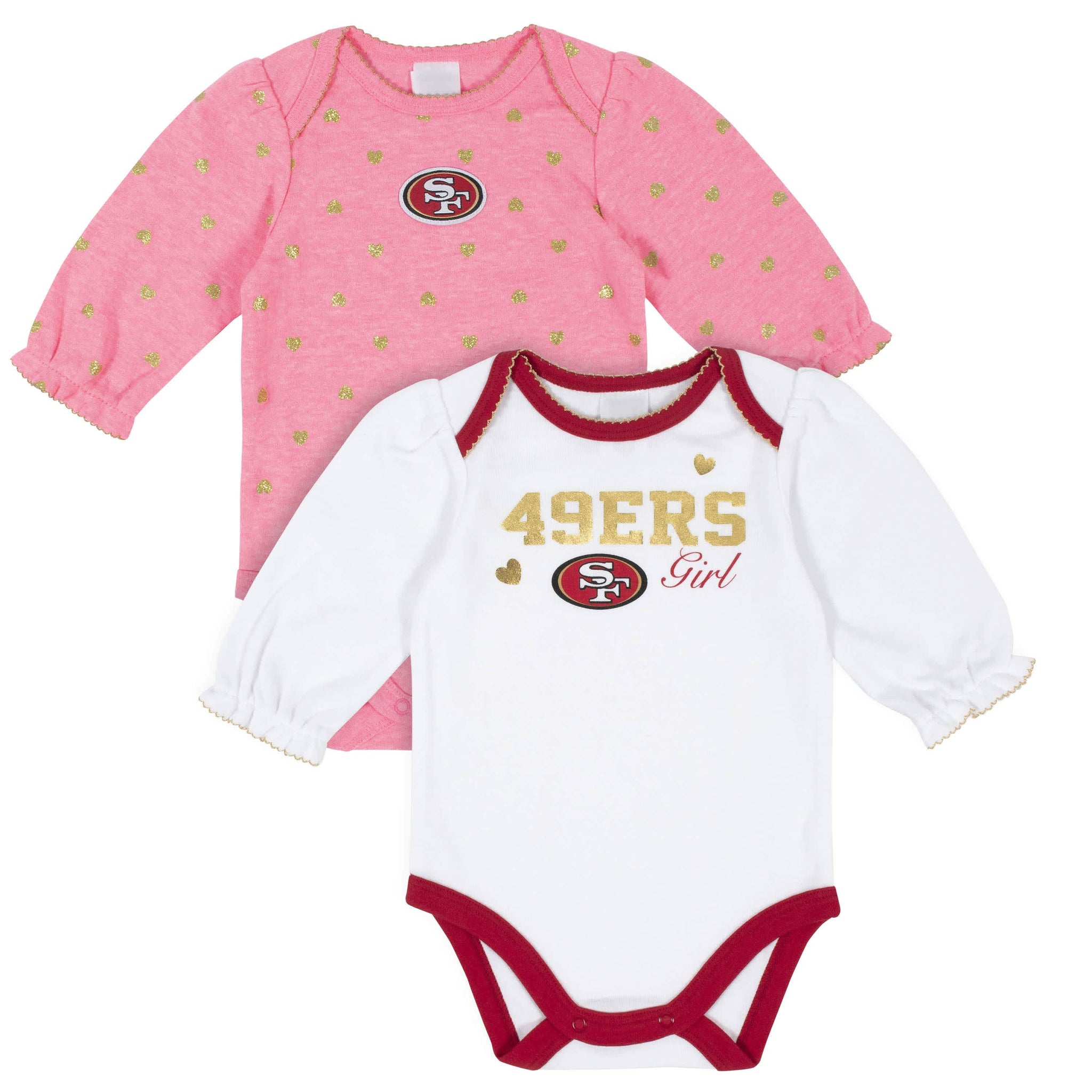 San Francisco 49ers Baby Girls Long Sleeve Bodysuits-Gerber Childrenswear