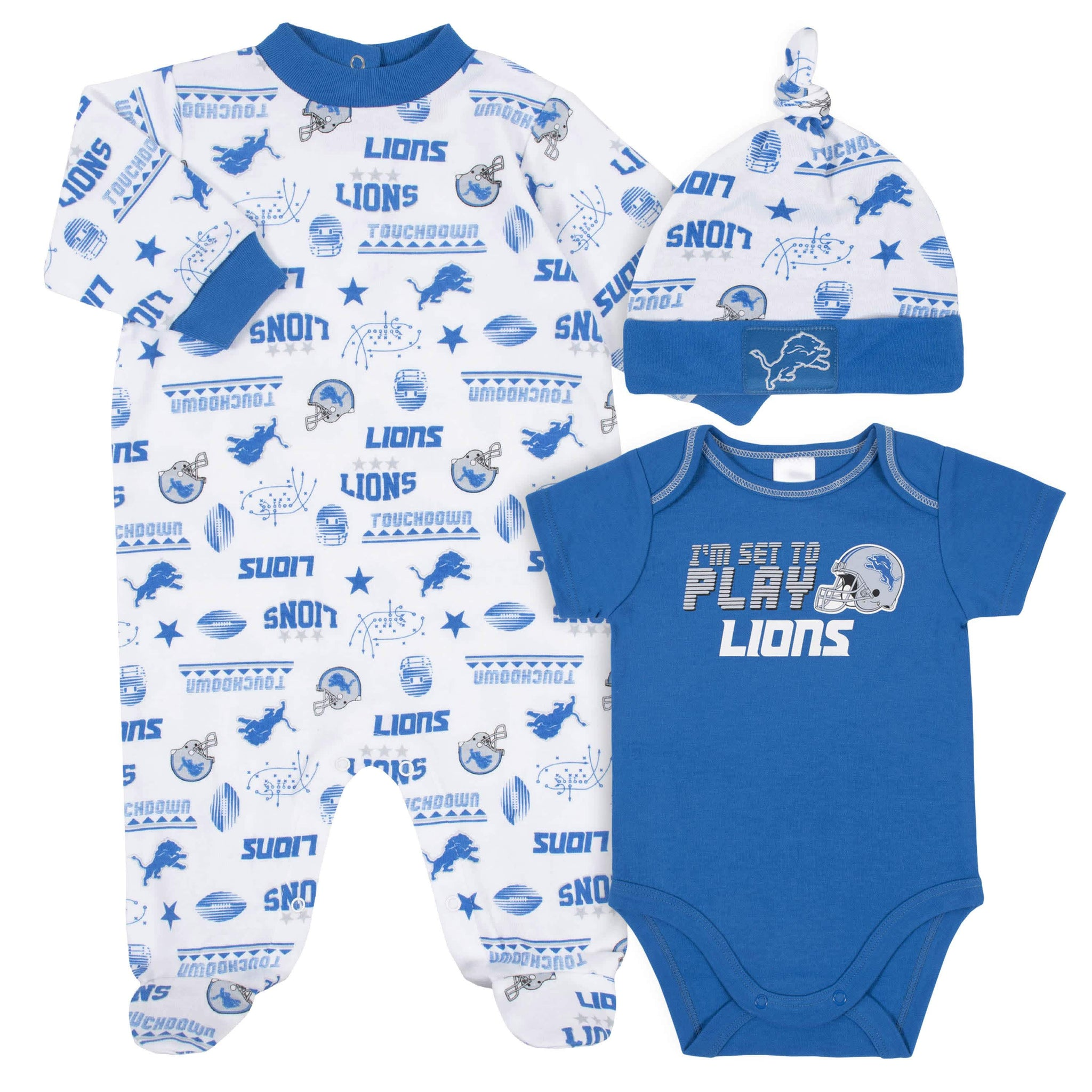 Detroit Lions 3-Piece Baby Boys Bodysuit, Sleep 'N Play, and Cap Set-Gerber Childrenswear