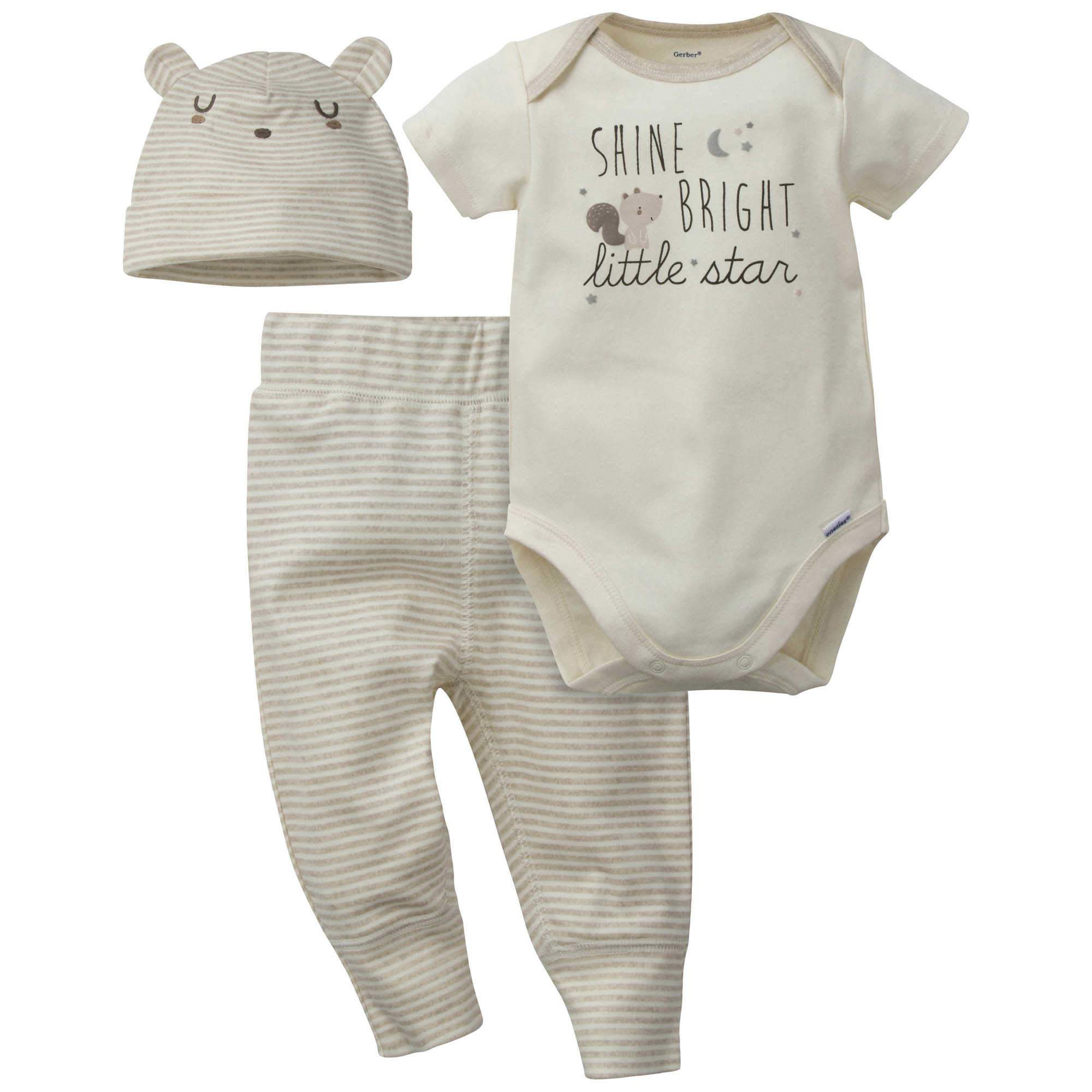 Gerber® 3-Piece Baby Boys Little Star Organic Onesies® Bodysuit, Pant & Cap Set
