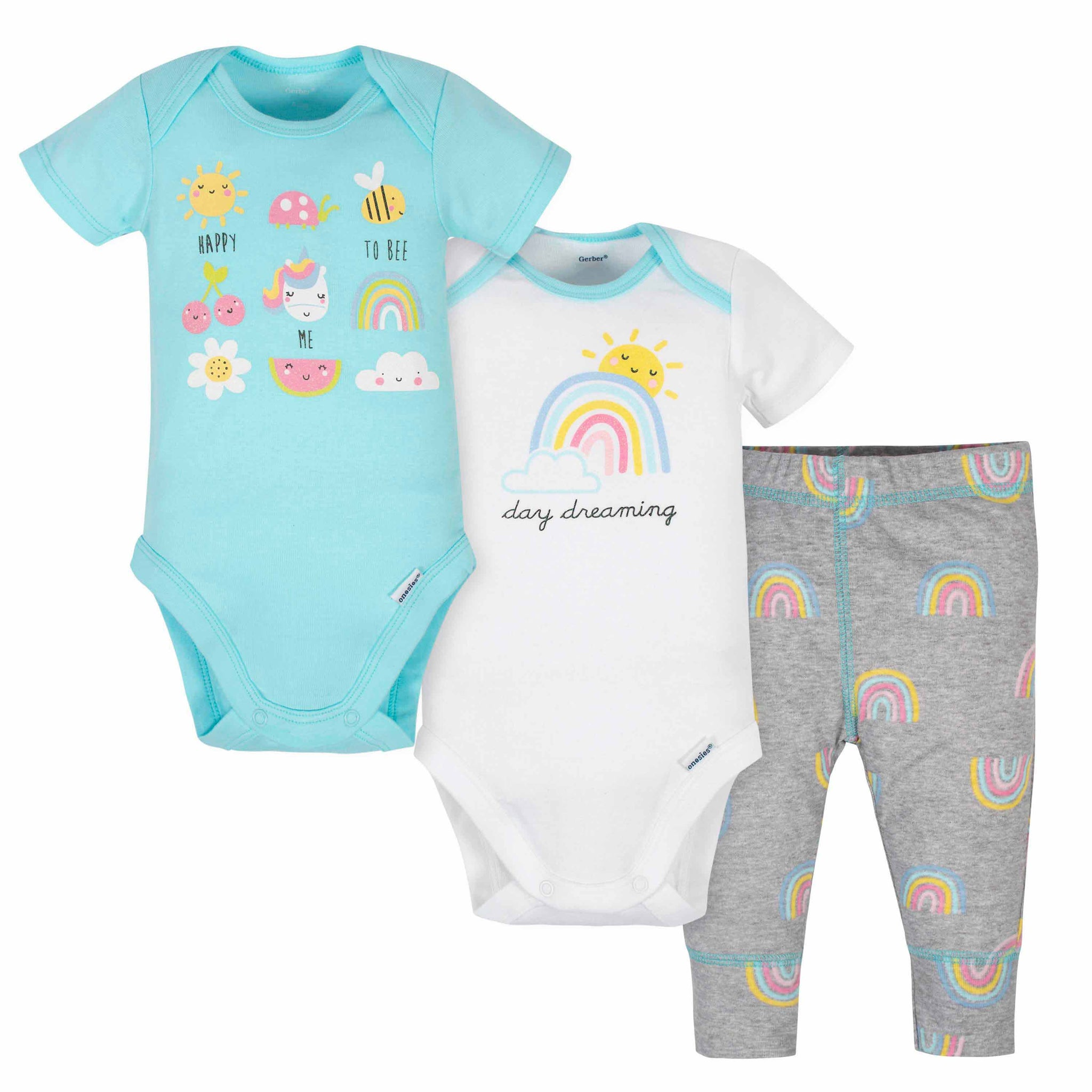 3-Piece Baby Girls Rainbow Onesies Bodysuits and Pant Set