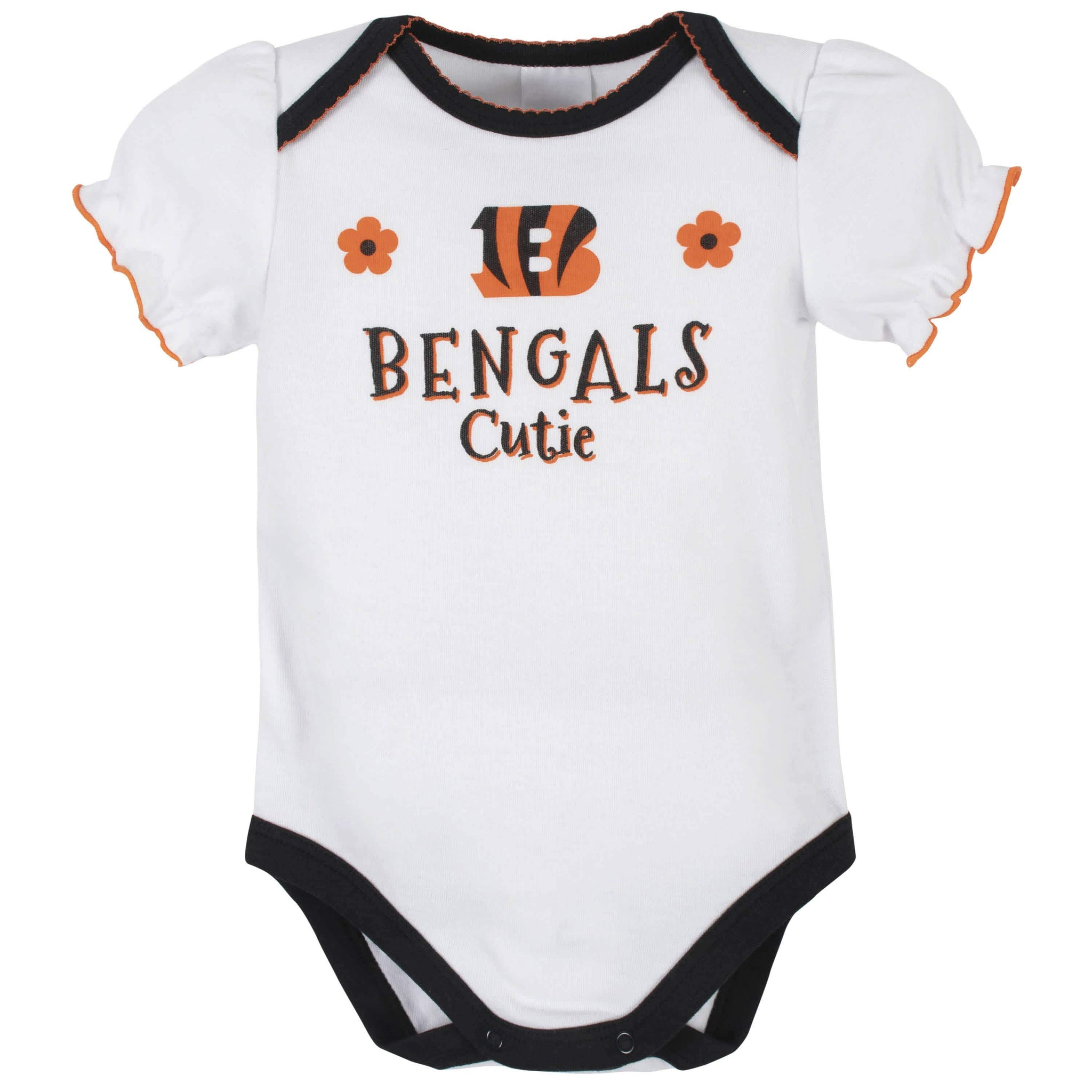 Cincinatti Bengals Baby Girls Short Sleeve Bodysuits-Gerber Childrenswear