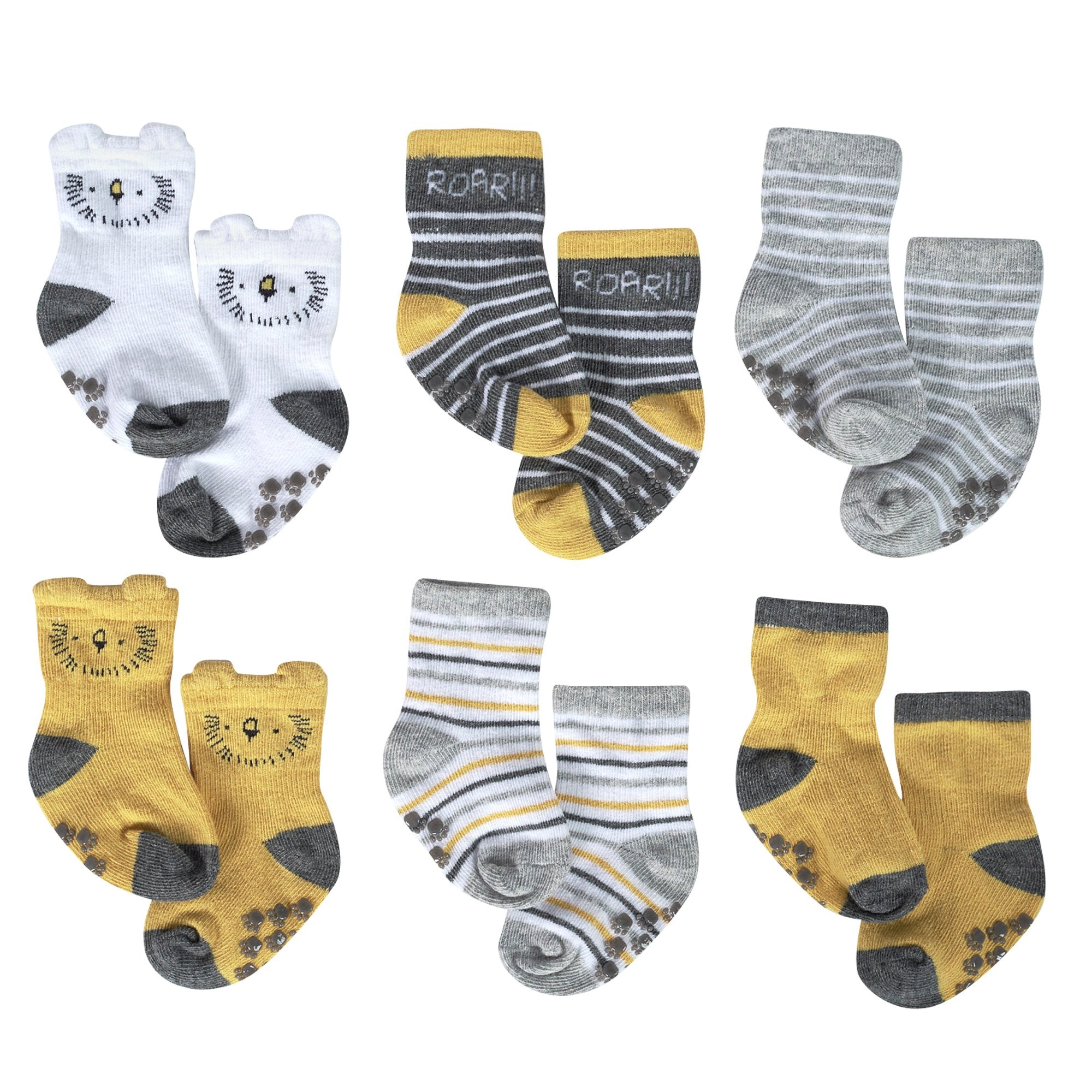 Just Born® Organic Baby Boys 6-Pack Lil' Lion Wiggle Proof Socks