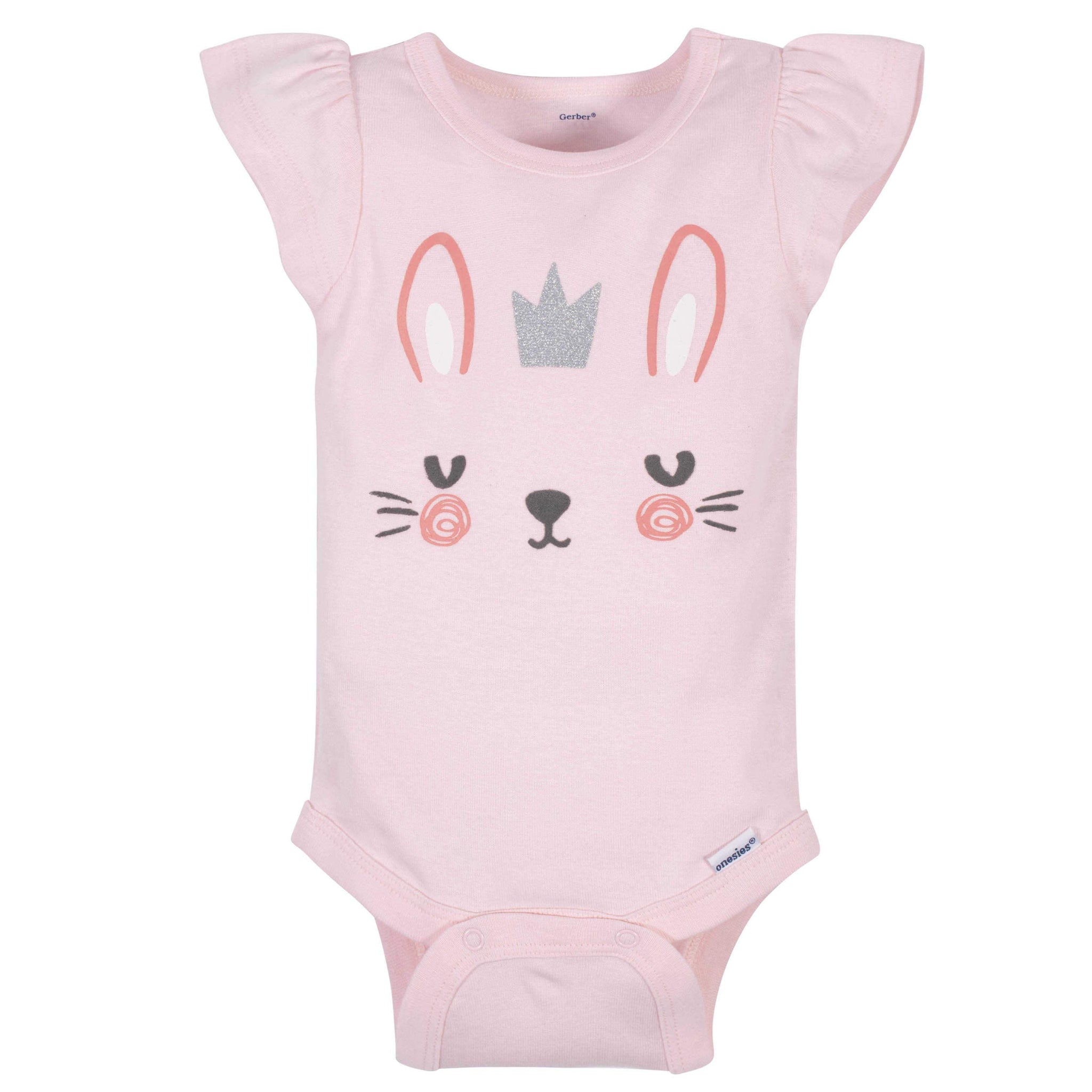 4-Pack Baby Girls Bunny Short Sleeve Onesies Bodysuits