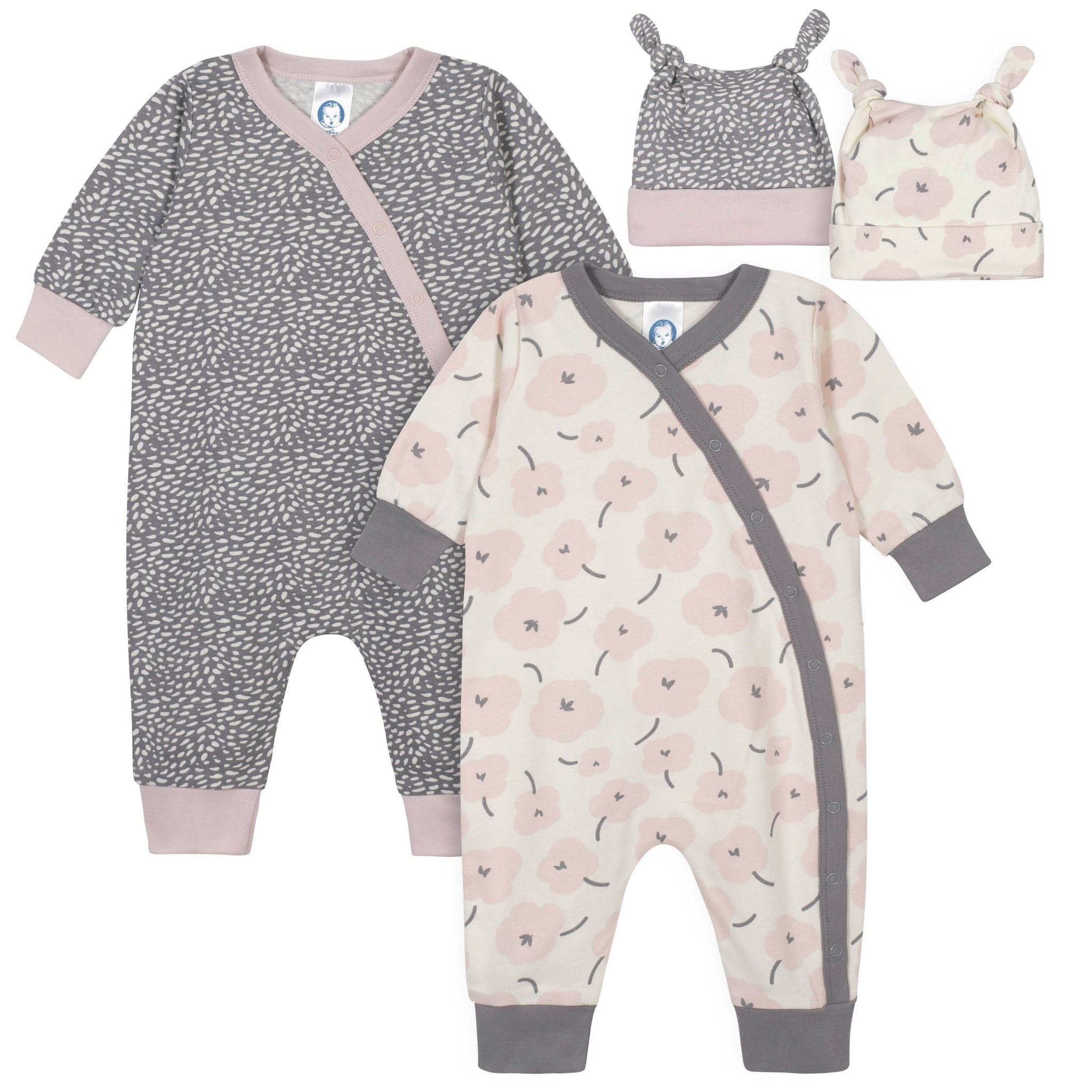 Gerber® 4-Piece Baby Girls Bunny Coverall and Cap Set-Gerber Childrenswear