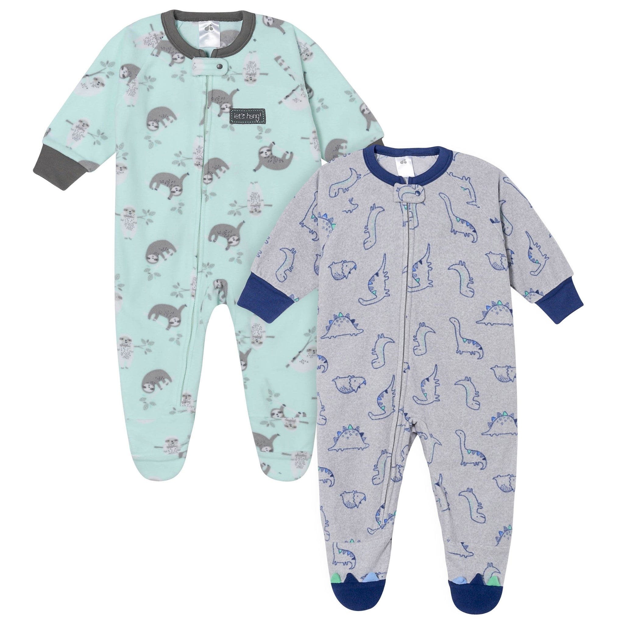 Baby Boys' 2-Pack Dinosaurs and Sloths Blanket Sleepers-Gerber Childrenswear