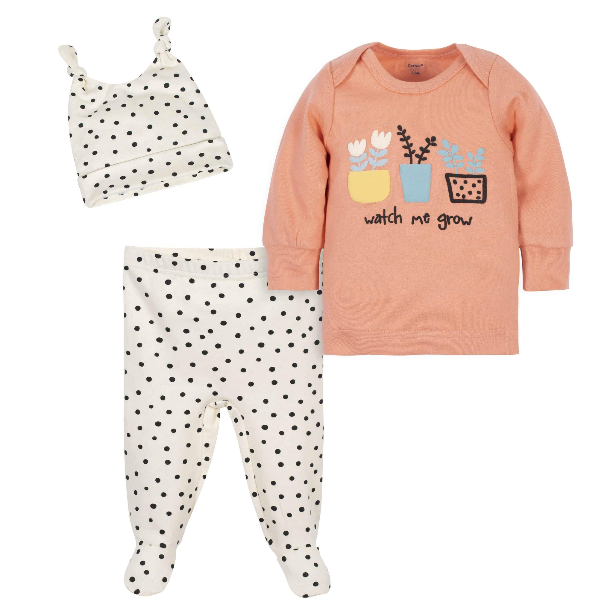 "3-Piece Baby Girls Grow by Gerber® ""Watch Me Grow"" Organic Shirt, Footed Pant and Cap Set"