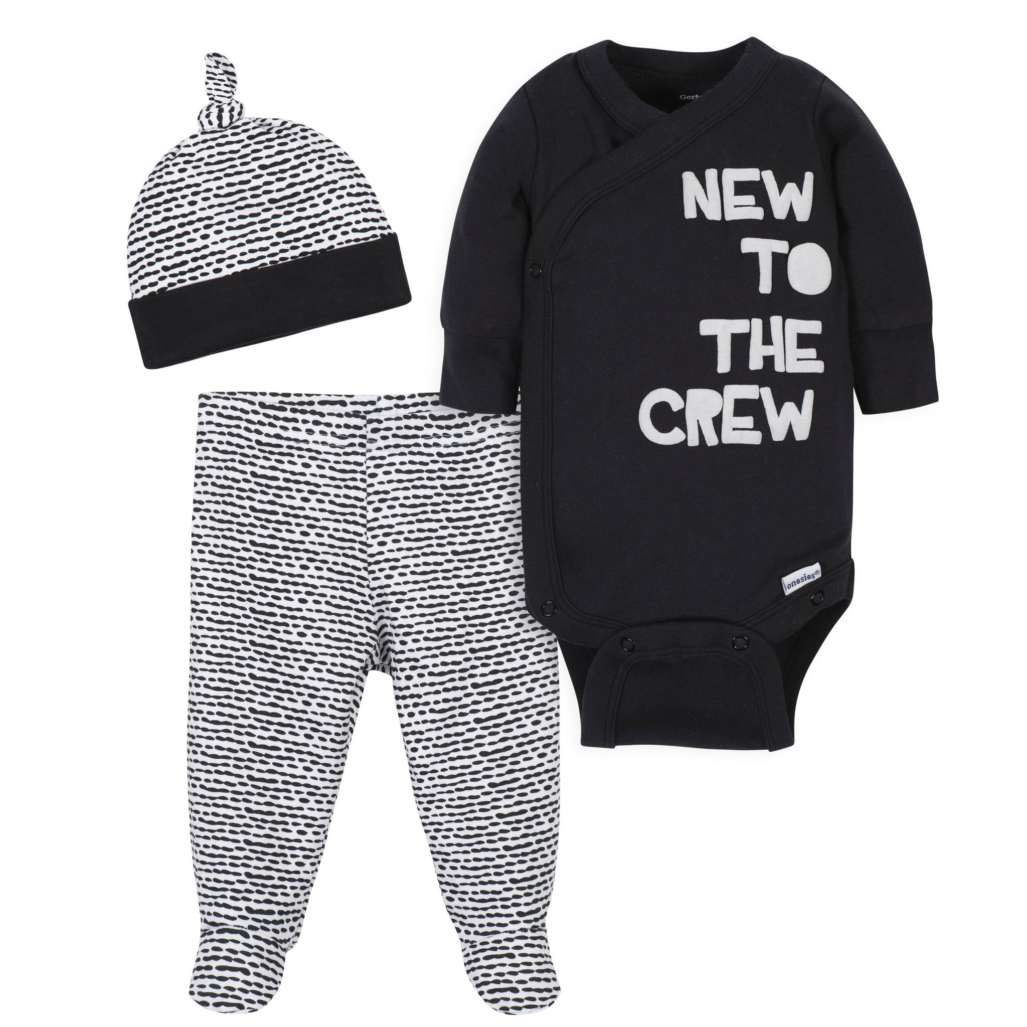 Gerber® 3-Piece Baby Boys New to the Crew Onesies Bodysuit, Pant, and Cap Set