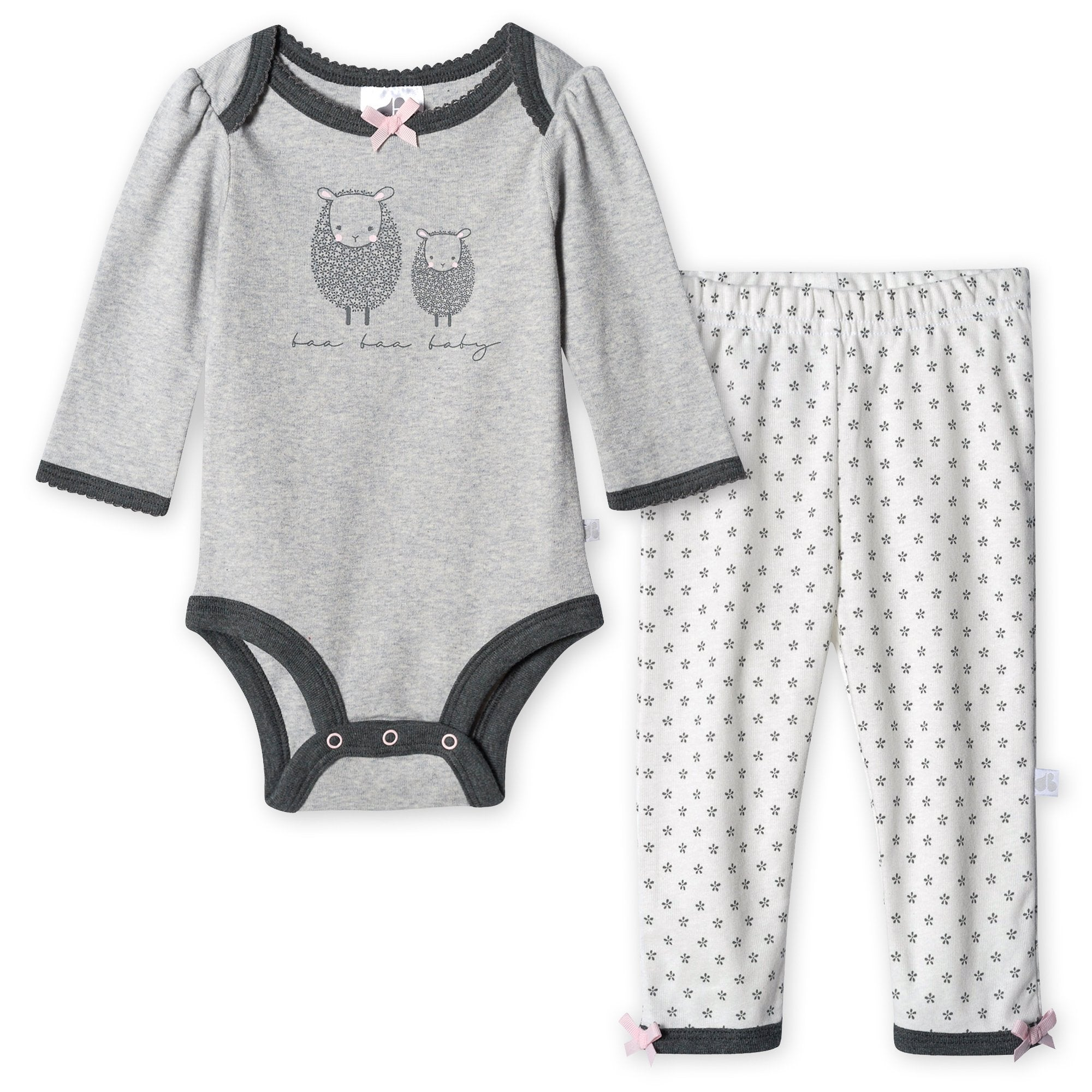 Just Born® Organic Baby Girls 2-Piece Lil' Lamb Long Sleeve Bodysuit and Pant Set-Gerber Childrenswear
