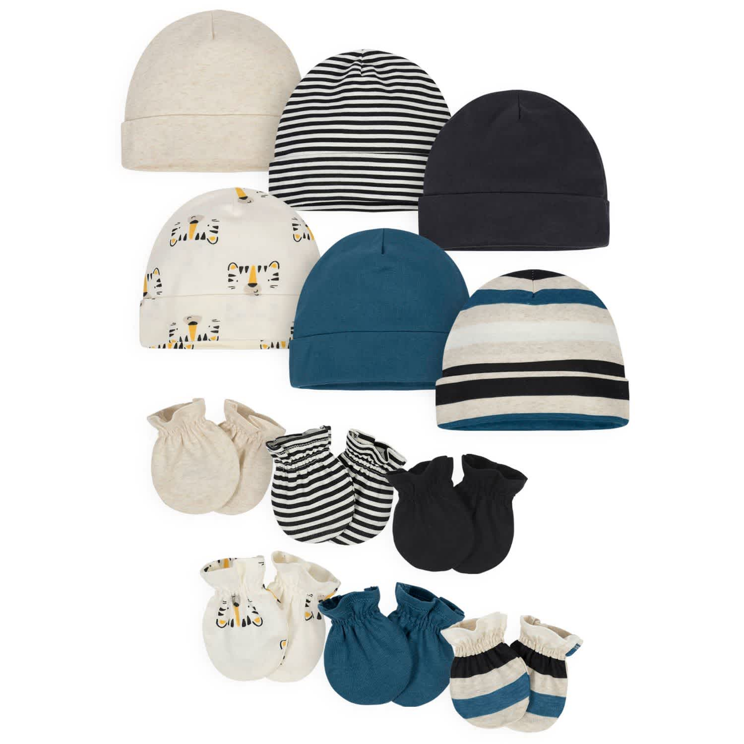 12-Pack Baby Boys' Tiger Cap and Mitten Set