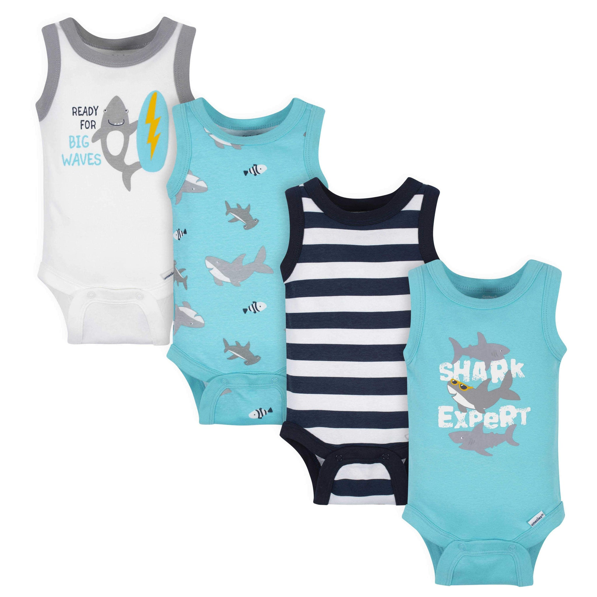 Gerber® 4-Pack Baby Boys Shark Sleeveless Onesies Bodysuits-Gerber Childrenswear