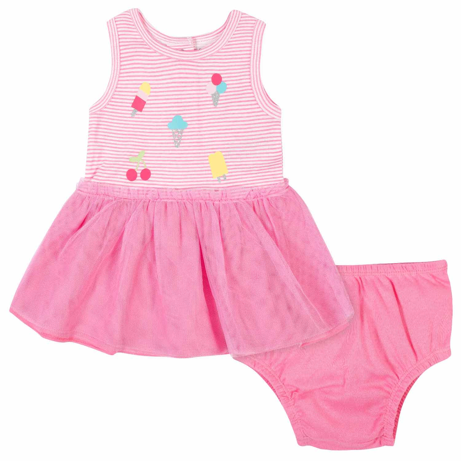 2-Piece Baby Girls Ice Cream Tulle Dress and Diaper Cover