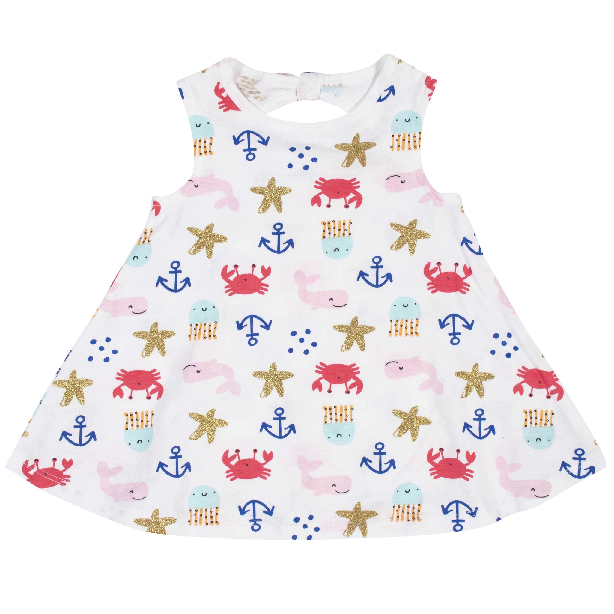 3-Piece Toddler Girls' Sea creatures Dress, Diaper Cover, and Hat Set