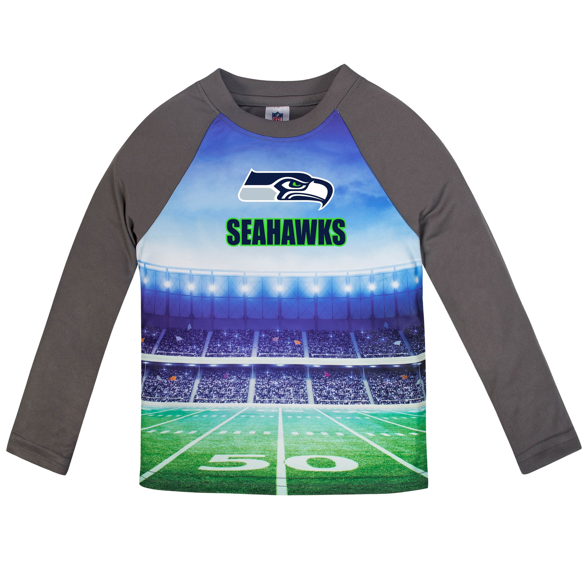 Seattle Seahawks Boys Long Sleeve Tee Shirt-Gerber Childrenswear