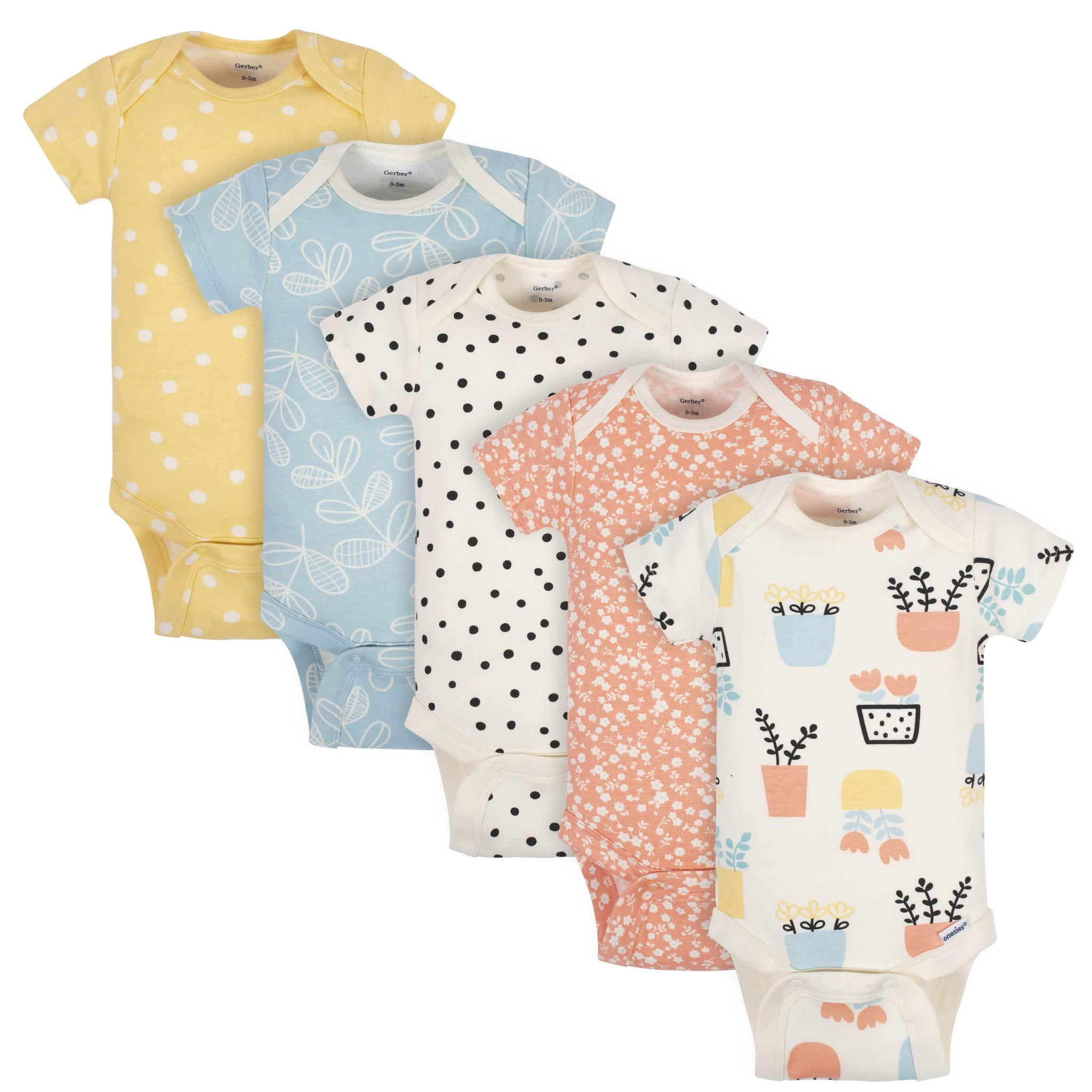 5-Pack Baby Girls Grow by Gerber® Flower Pot Organic Short Sleeve Onesies® Bodysuits-Gerber Childrenswear