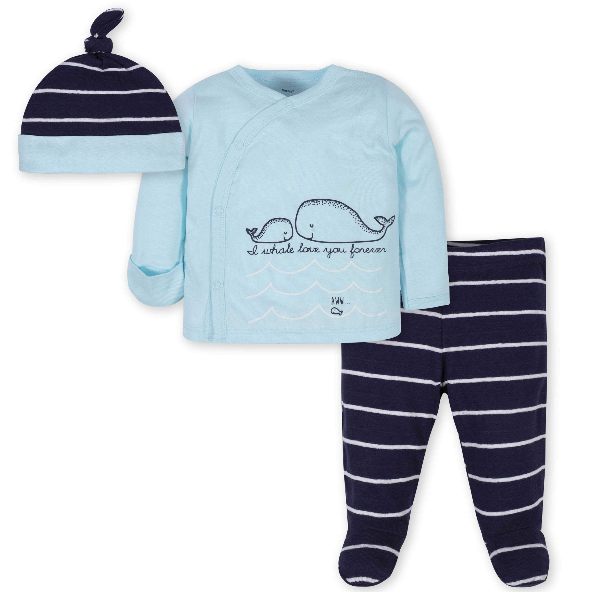 3-Piece Baby Boys Whale Take-Me-Home Set
