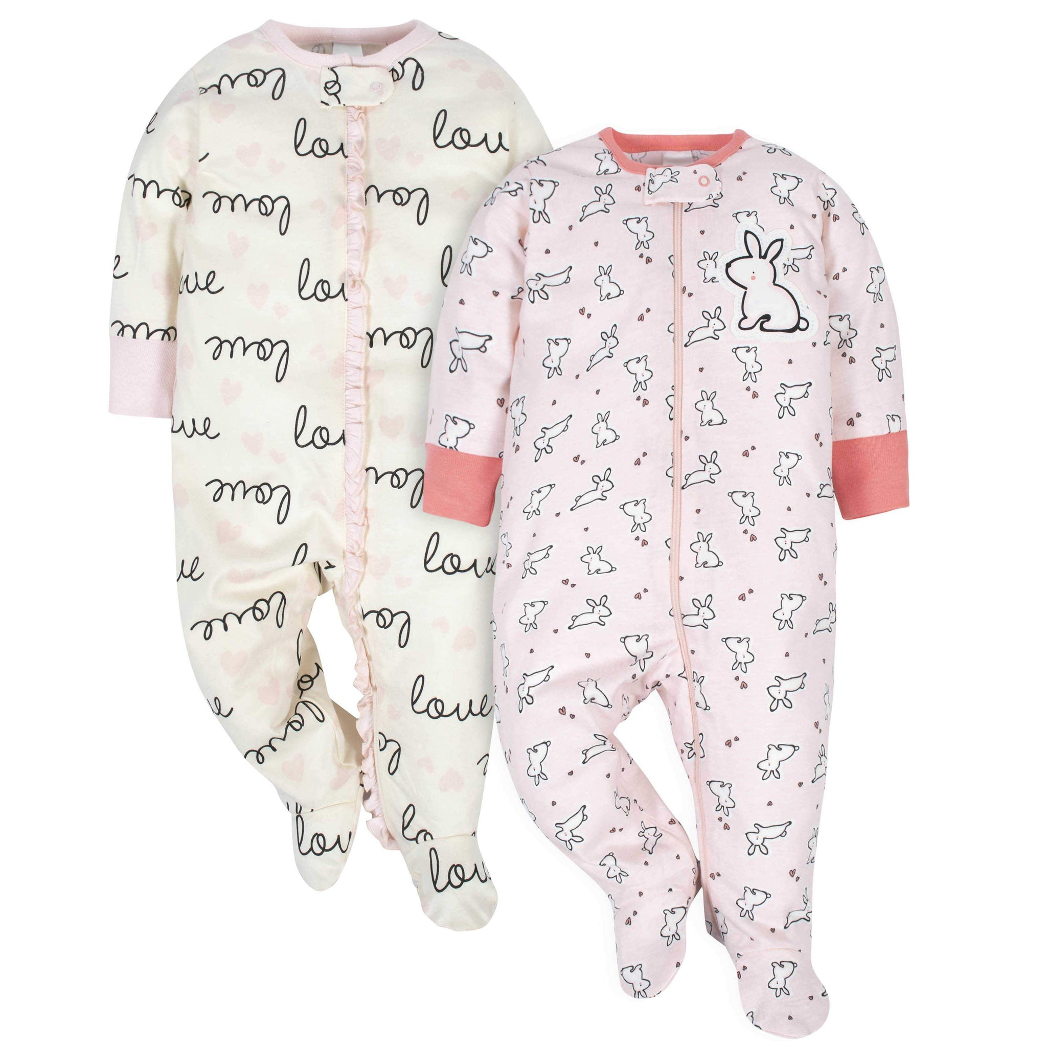 Gerber® 2-Pack Baby Girls Love and Bunny Theme Sleep N' Plays