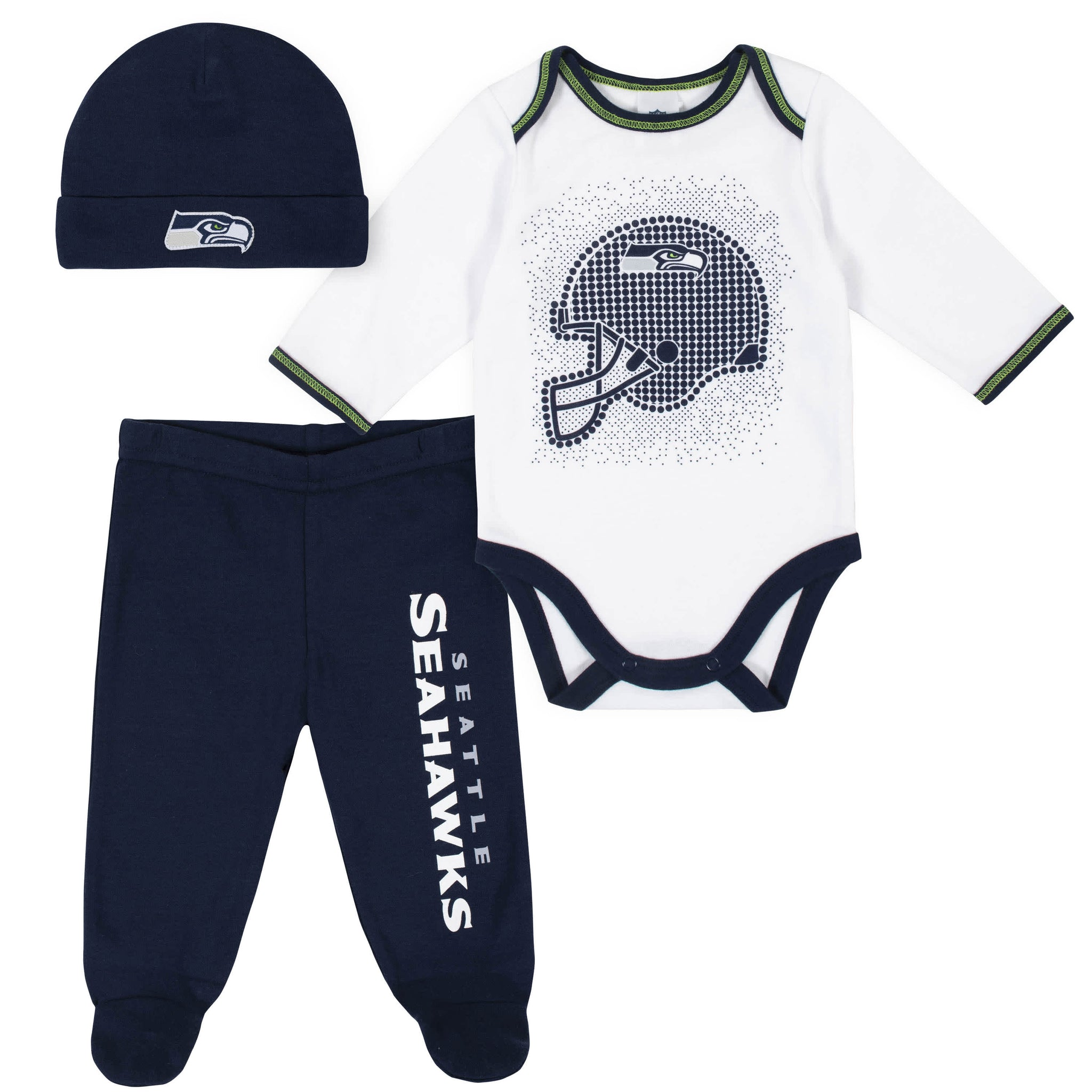 Seattle Seahawks 3-Piece Baby Boys Bodysuit, Pant, and Cap Set-Gerber Childrenswear