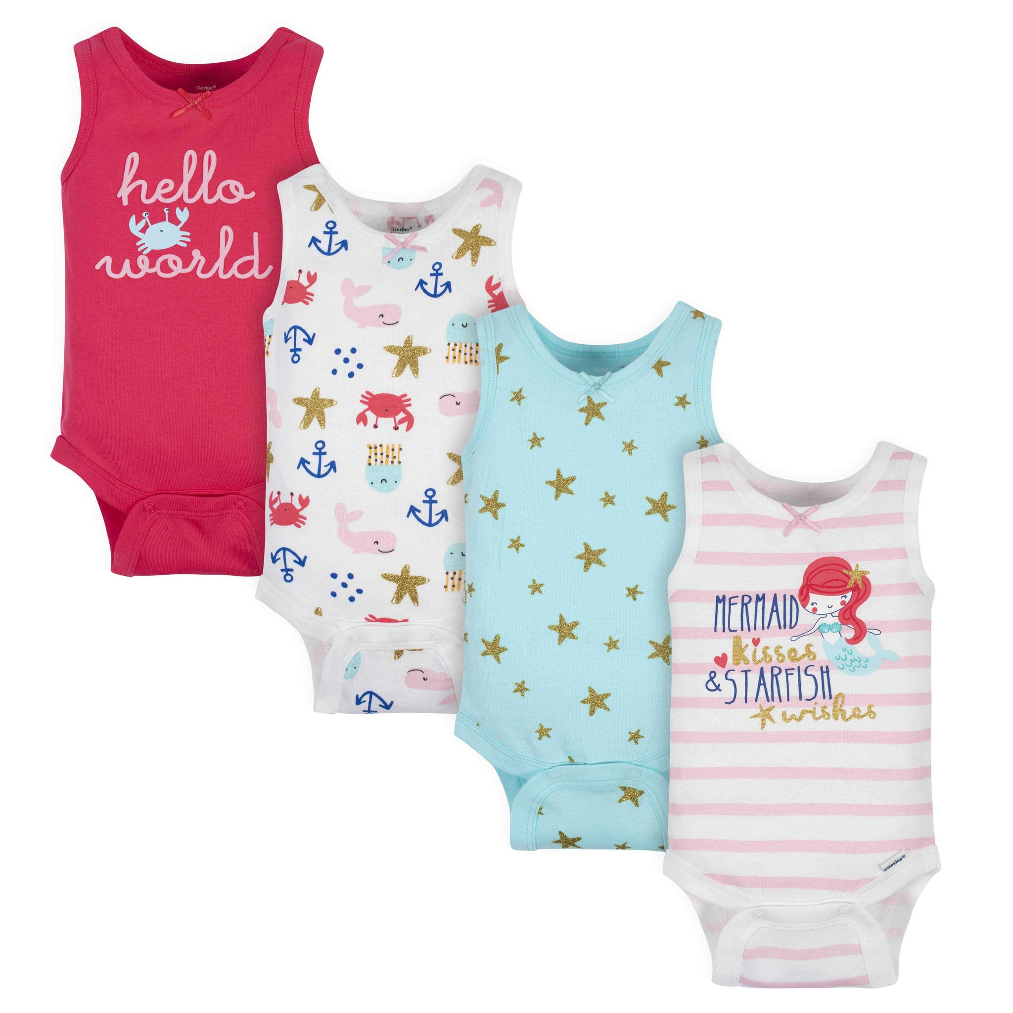 4-Pack Baby Girls Sea Creatures Tank Onesies Bodysuits