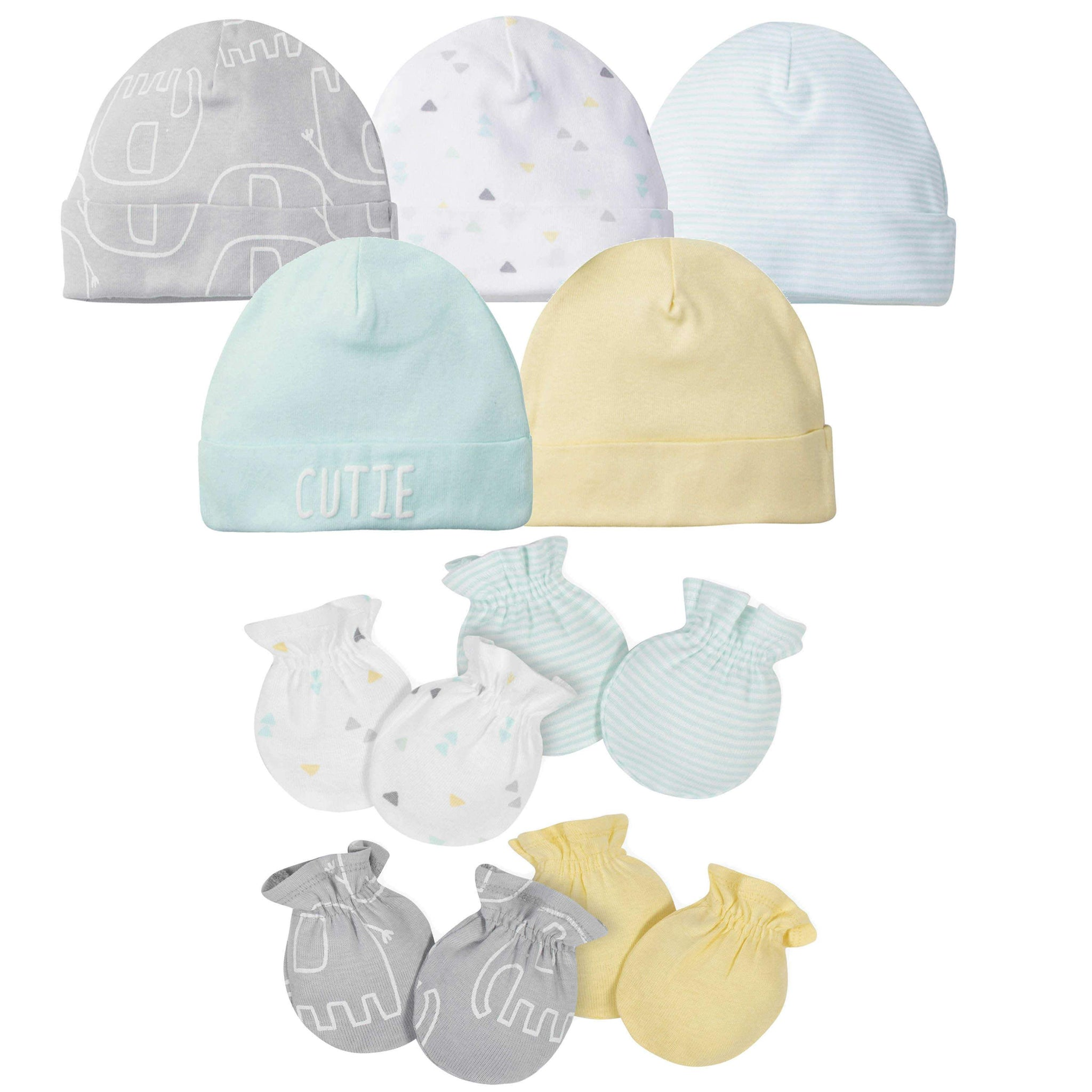 Gerber® 9-piece Baby Neutral Elephant Caps and Mittens Set