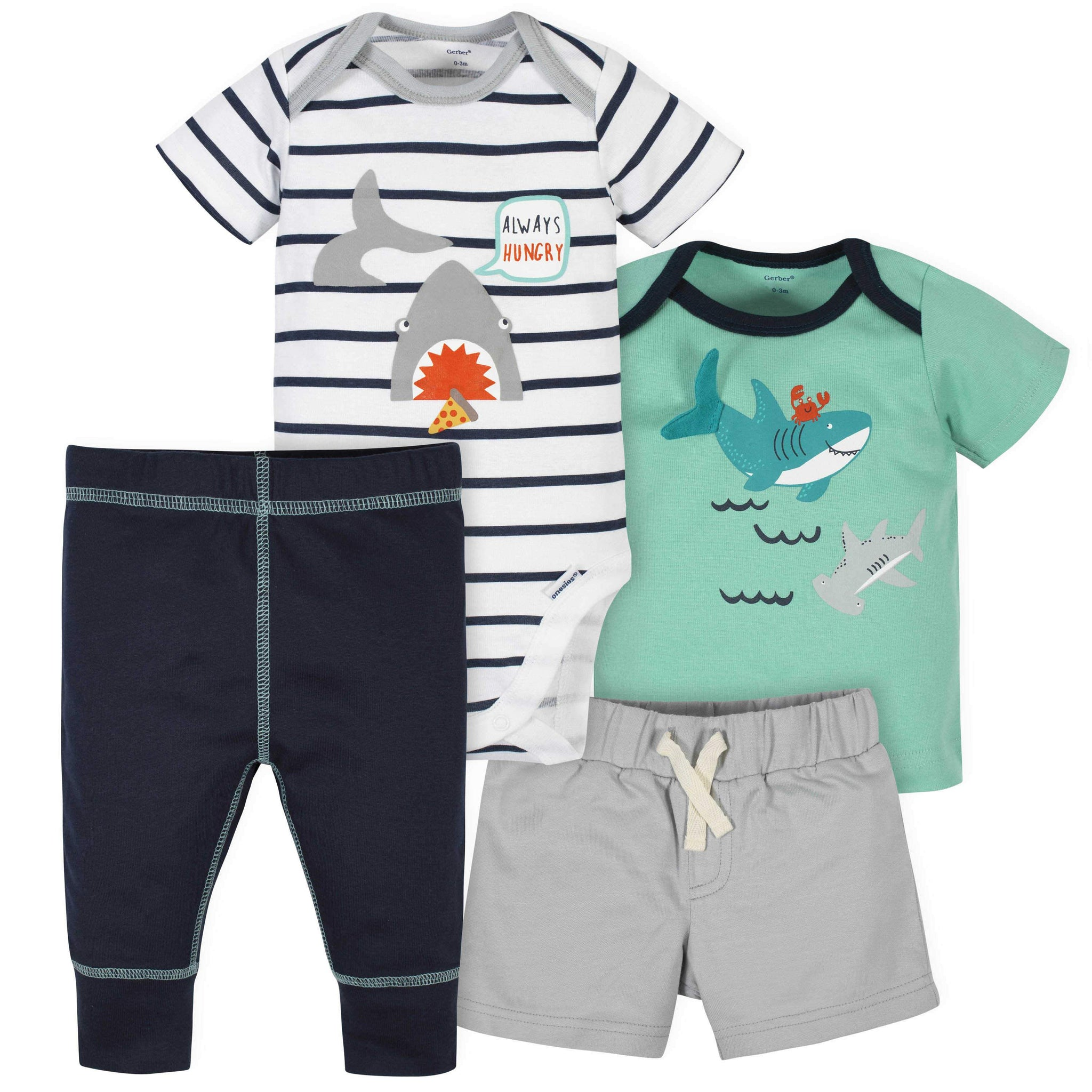Gerber® 4-Piece Baby Boys Shark Onesies Bodysuit, Short, Shirt, and Active Pant Set