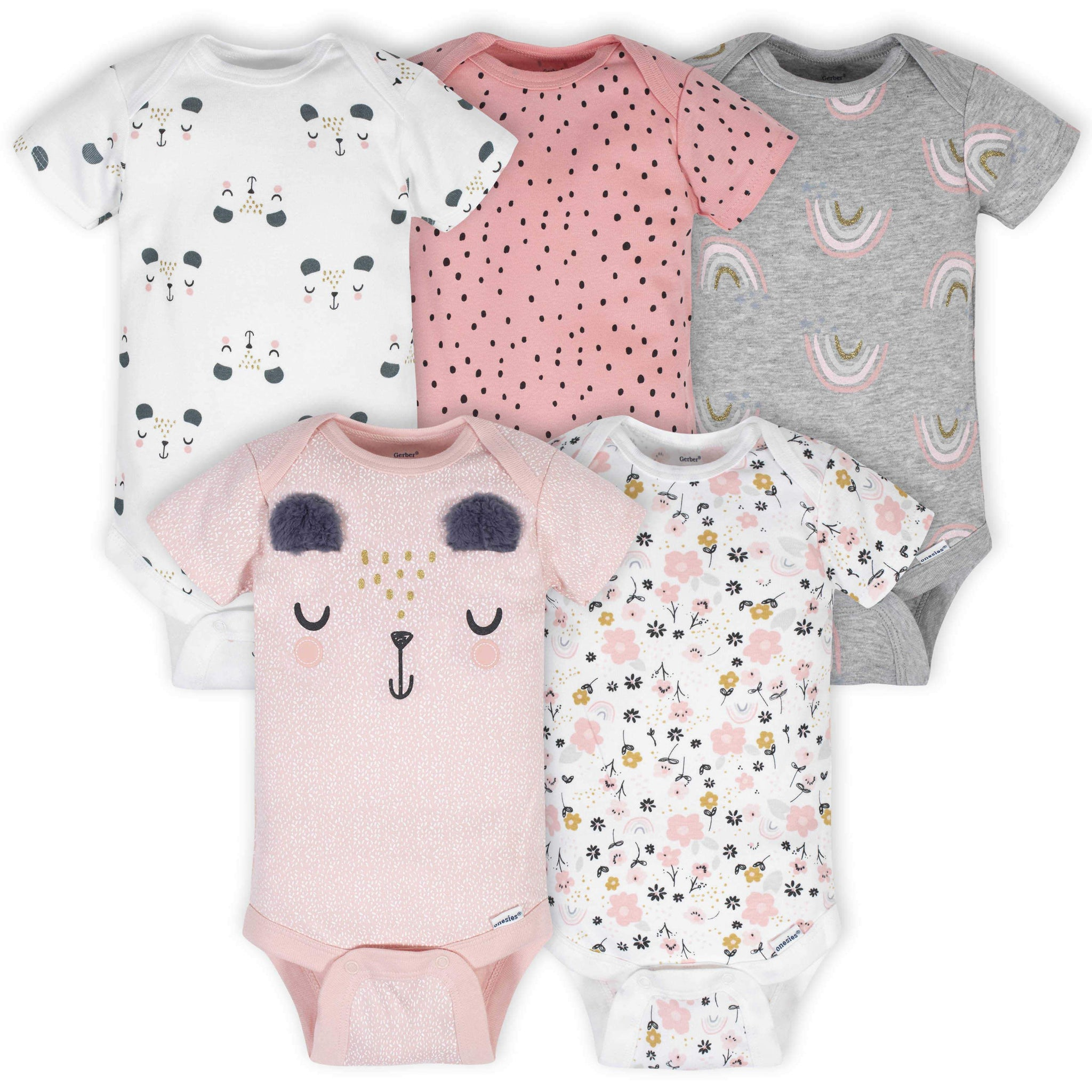 Gerber® 5-Pack Baby Girls Bear Short Sleeve Onesies® Bodysuits