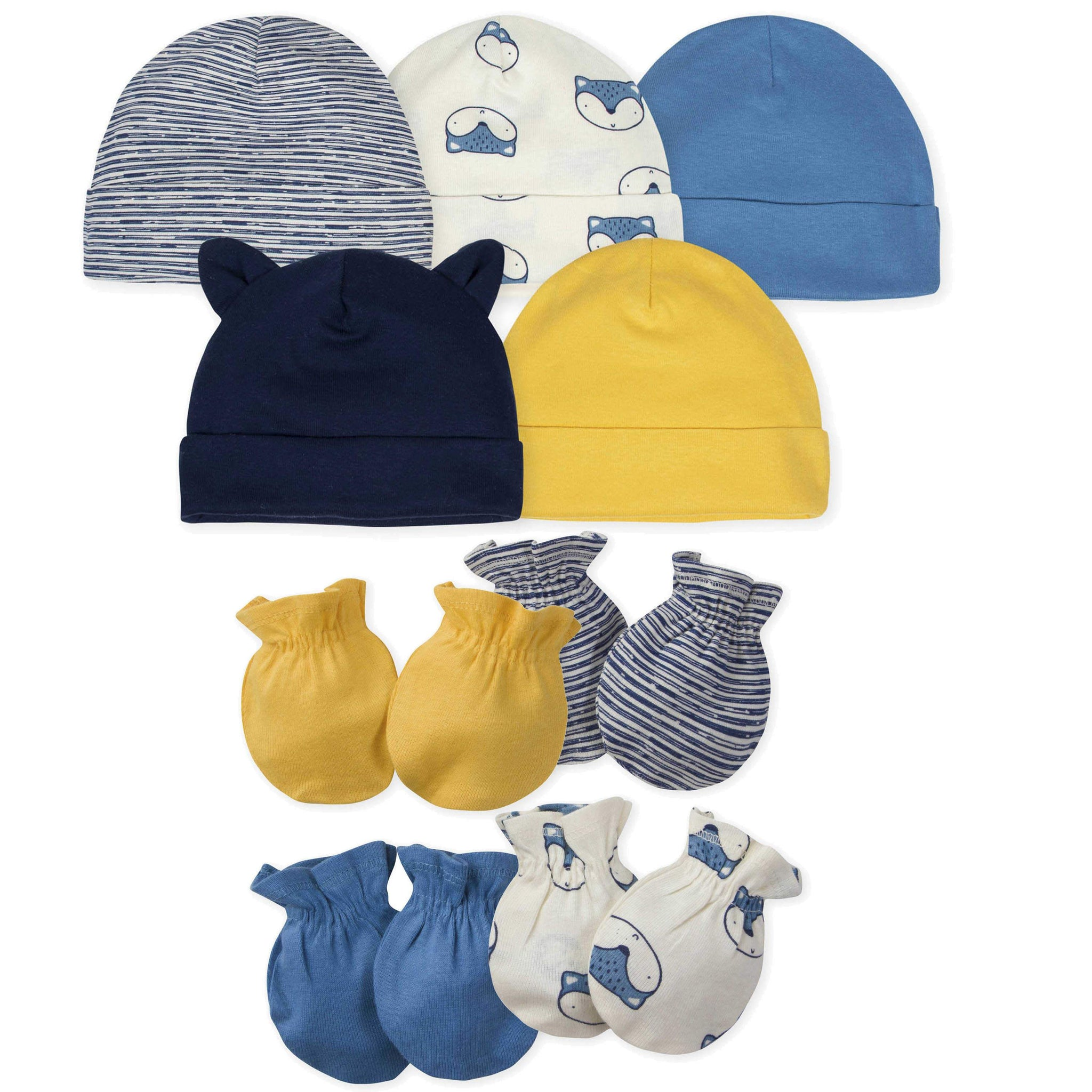 Gerber® 9-piece Baby Boys' Fox Caps and Mittens Set