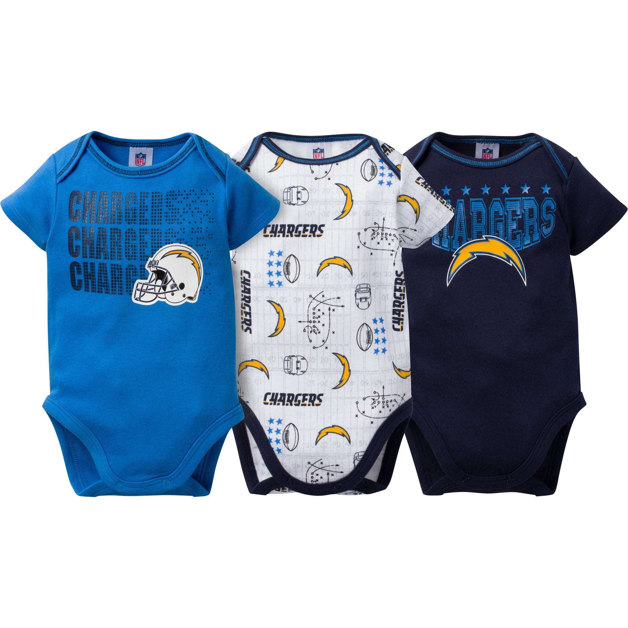 NFL Chargers 3-Pack Infant Short Sleeve Bodysuits-Gerber Childrenswear