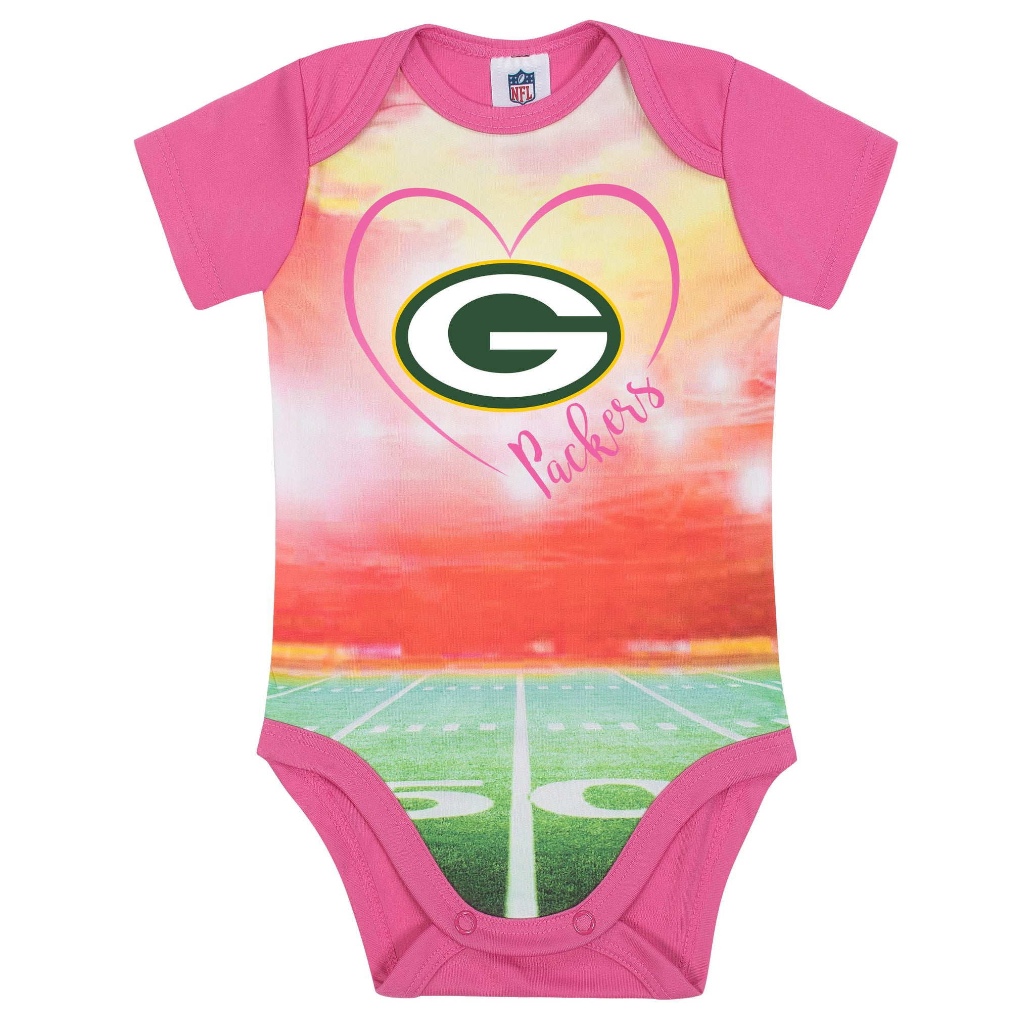 Green Bay Packers Baby Girl Short Sleeve Bodysuit-Gerber Childrenswear