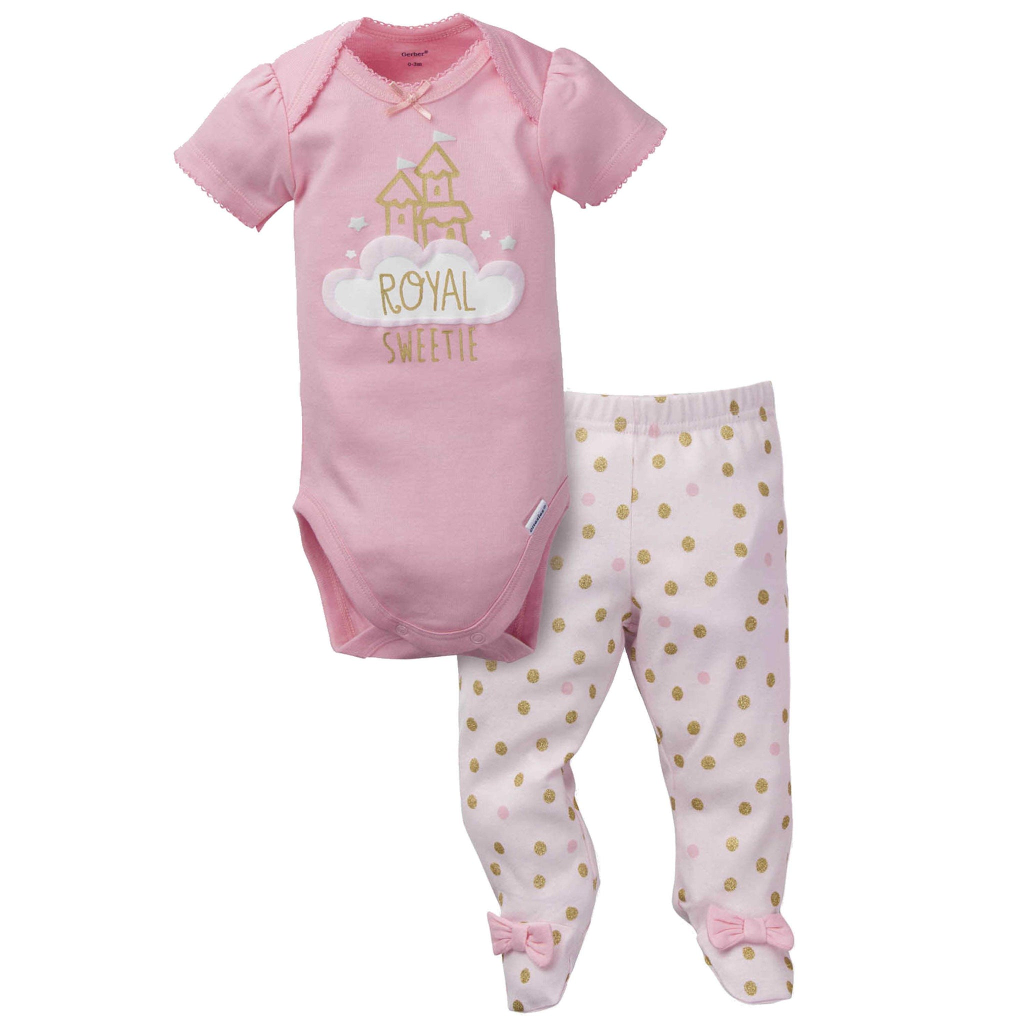 Gerber® 2-Piece Baby Girls Princess Bodysuit and Pant Set