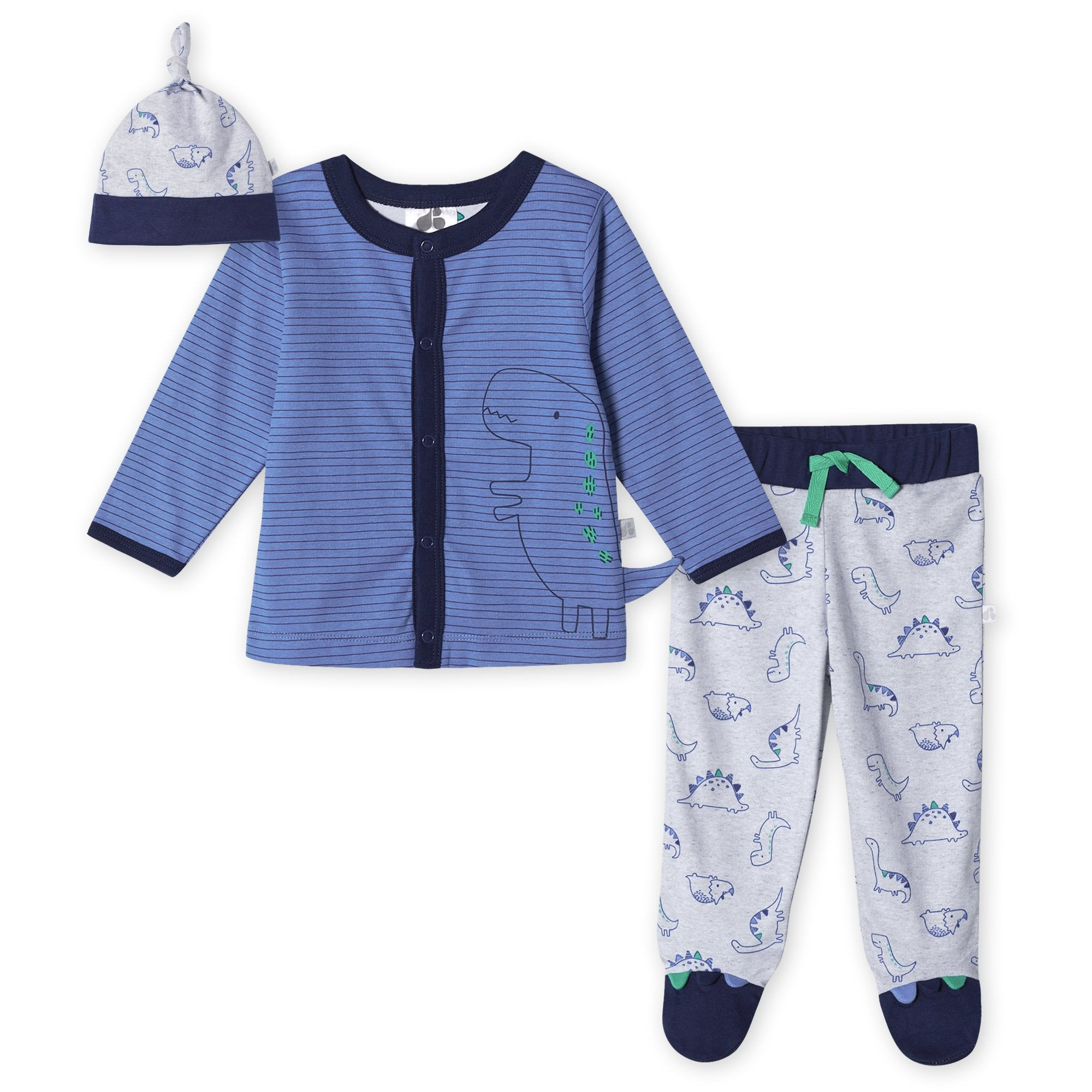 Just Born® Organic Baby Boys 3-Piece Lil' Dino Shirt, Pants & Cap Set-Gerber Childrenswear