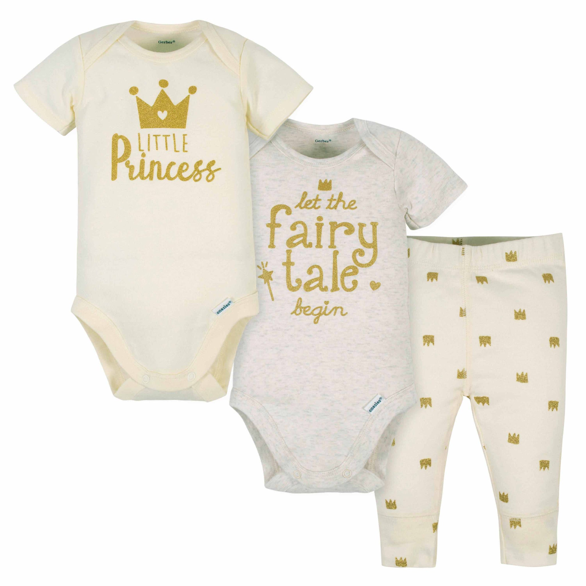 3-Piece Baby Girls Crowns Onesies Bodysuits and Pant Set