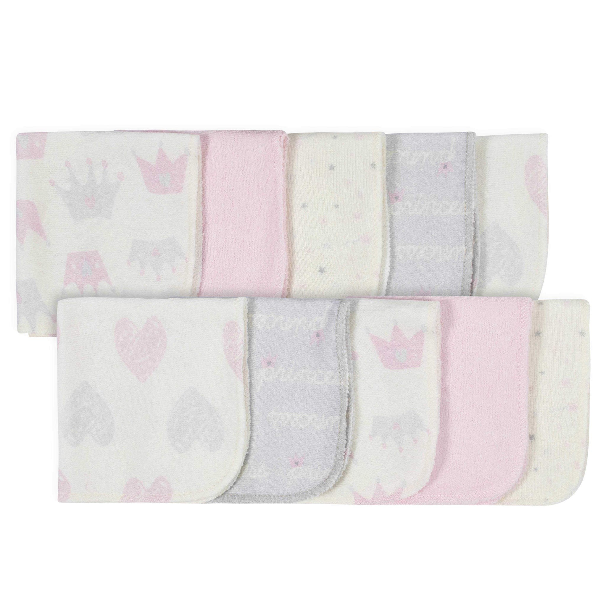 10-Pack Baby Girls' Princess Washcloths