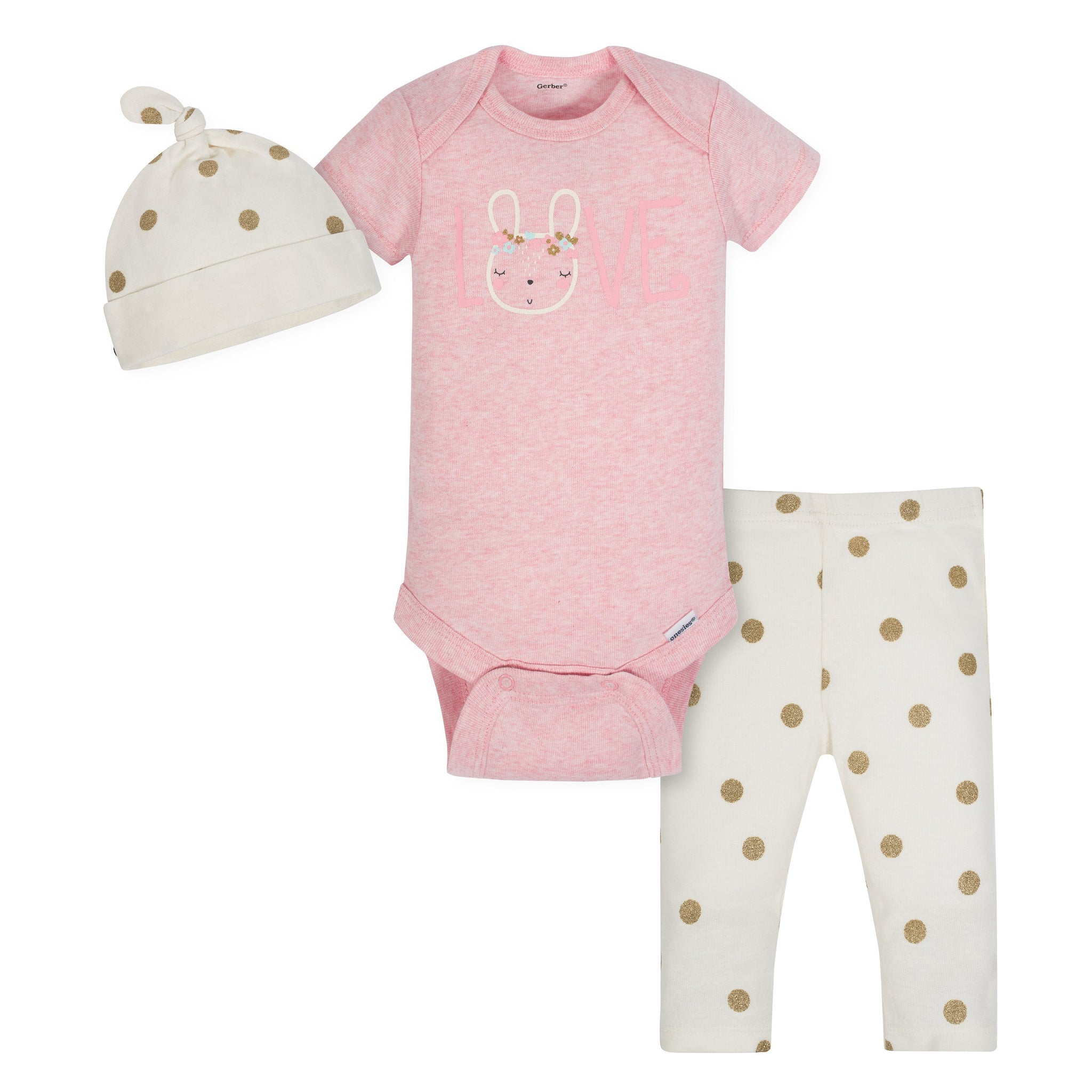 Gerber 3-Piece Organic Baby Girls Rabbit Bodysuit, Pants & Cap Set